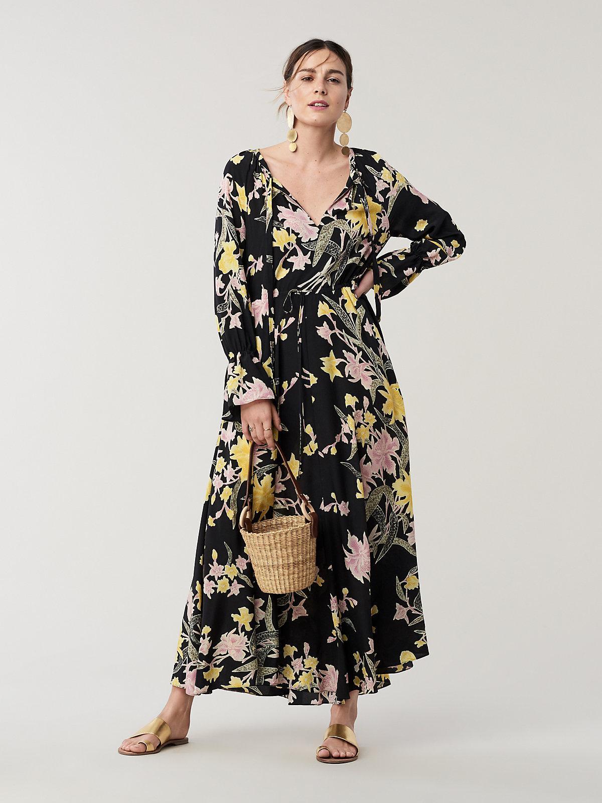 0d51449160b87 Diane von Furstenberg. Women's Black Eloise Silk Crepe De Chine Maxi Wrap  Dress
