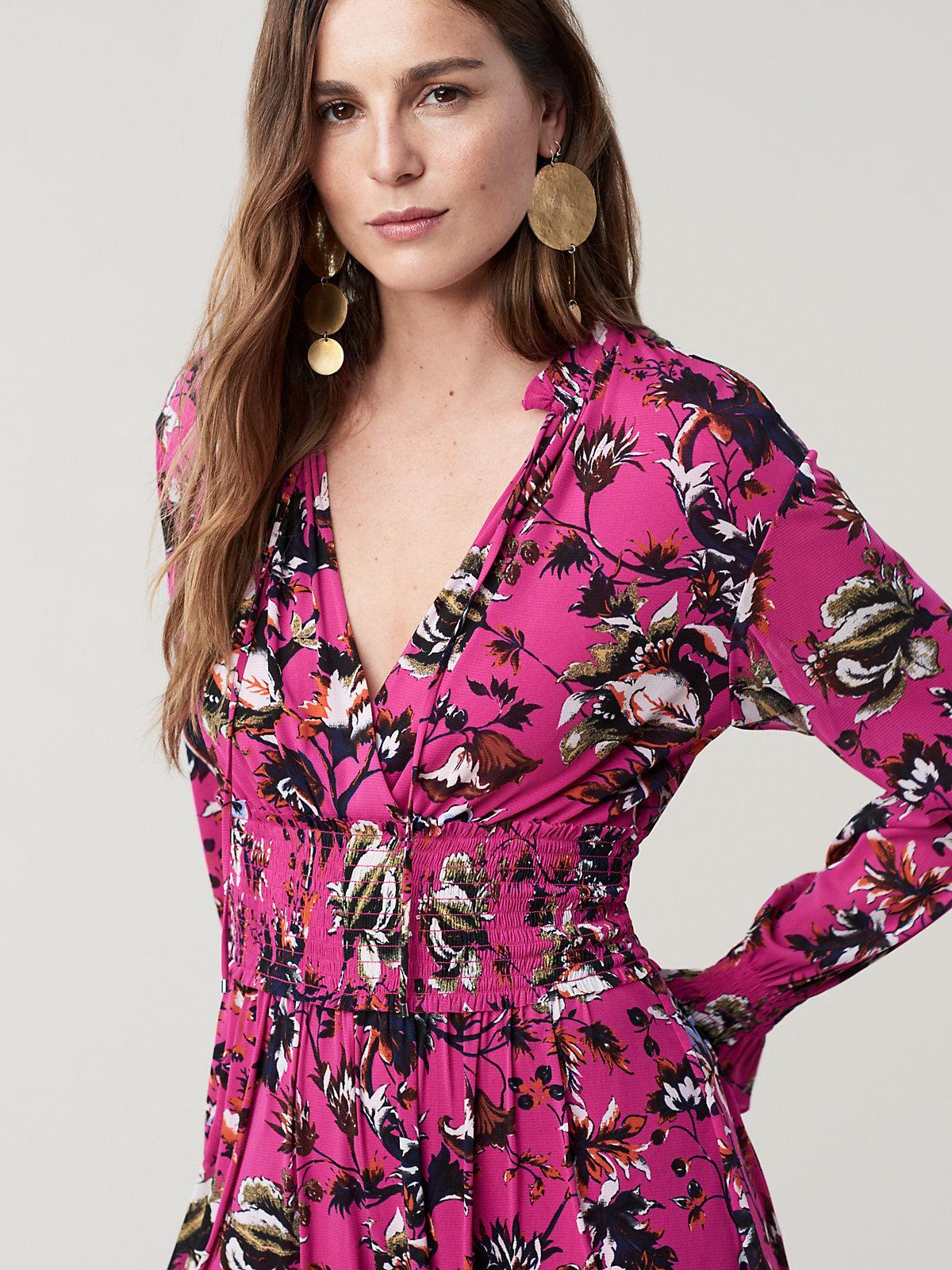 f5ad3483261 Diane von Furstenberg Henrietta Long Sleeve Romper in Pink - Lyst