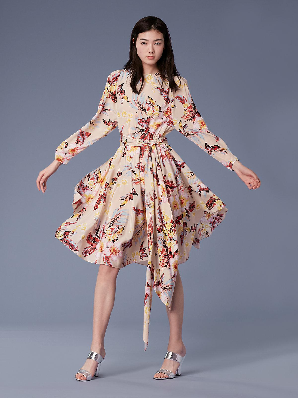 ca52e60e5d1 Diane von Furstenberg Long-sleeve Waist Tie Draped Midi Dress - Lyst