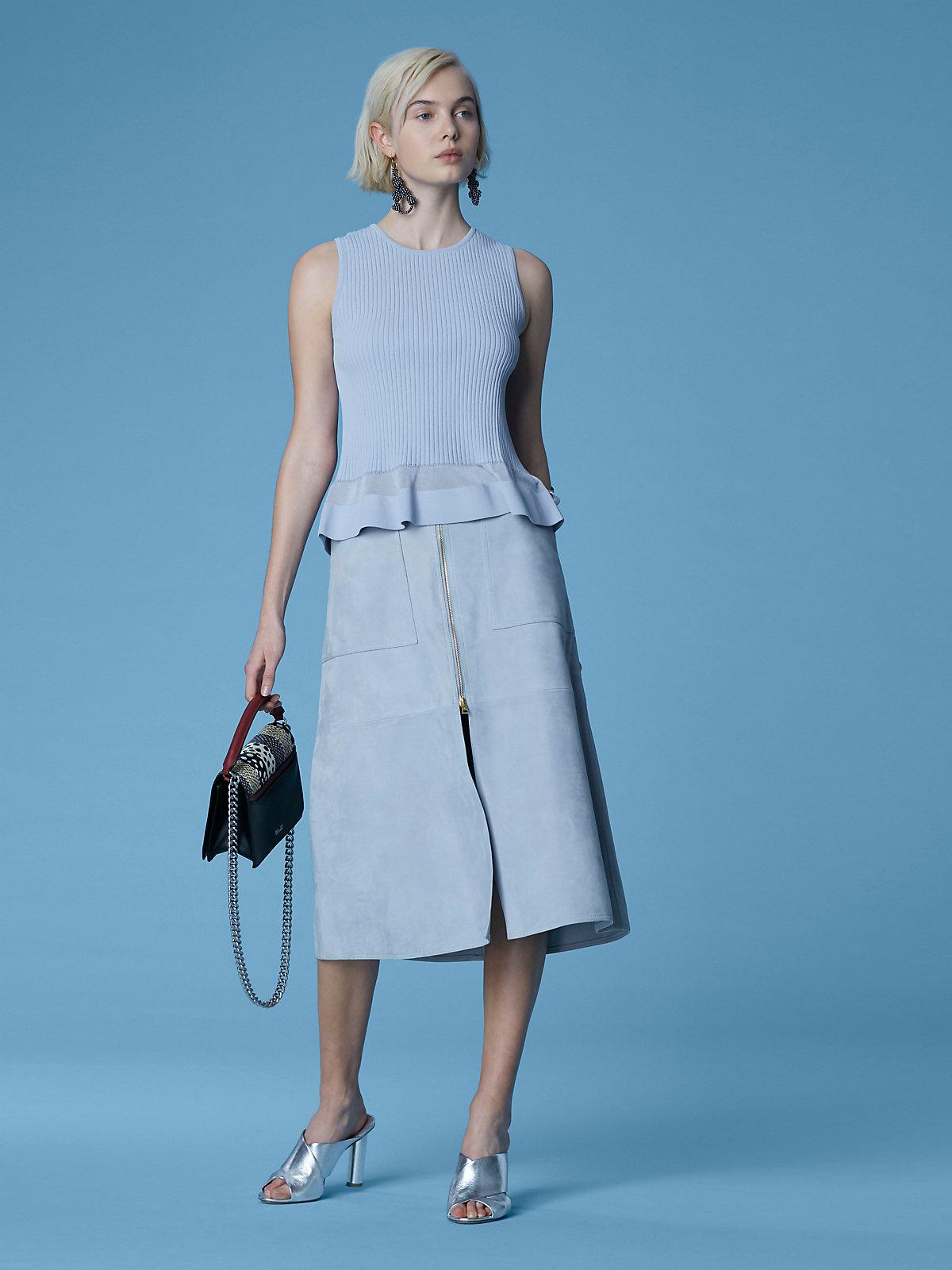 d39e89a2cd386 Lyst - Diane von Furstenberg Patch Pocket Midi Skirt in Blue