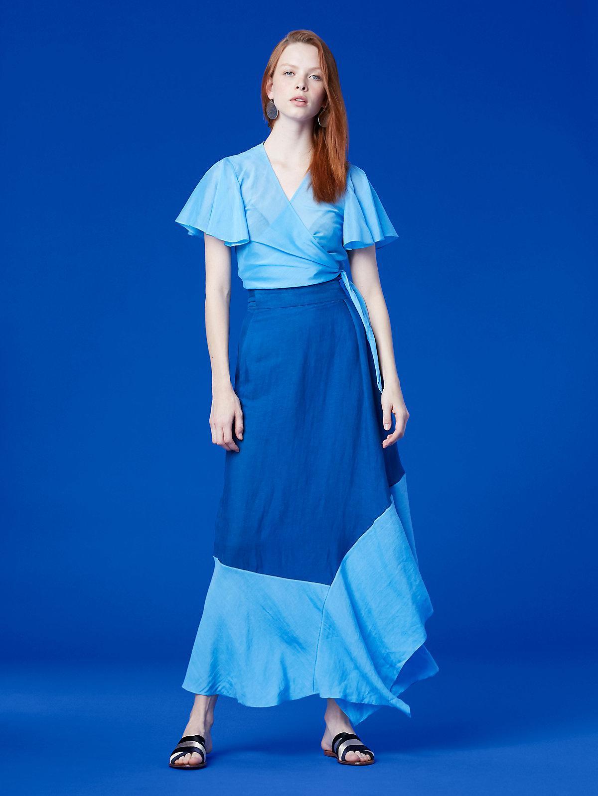 45f2740fea Diane von Furstenberg Draped Wrap Beach Skirt in Blue - Lyst