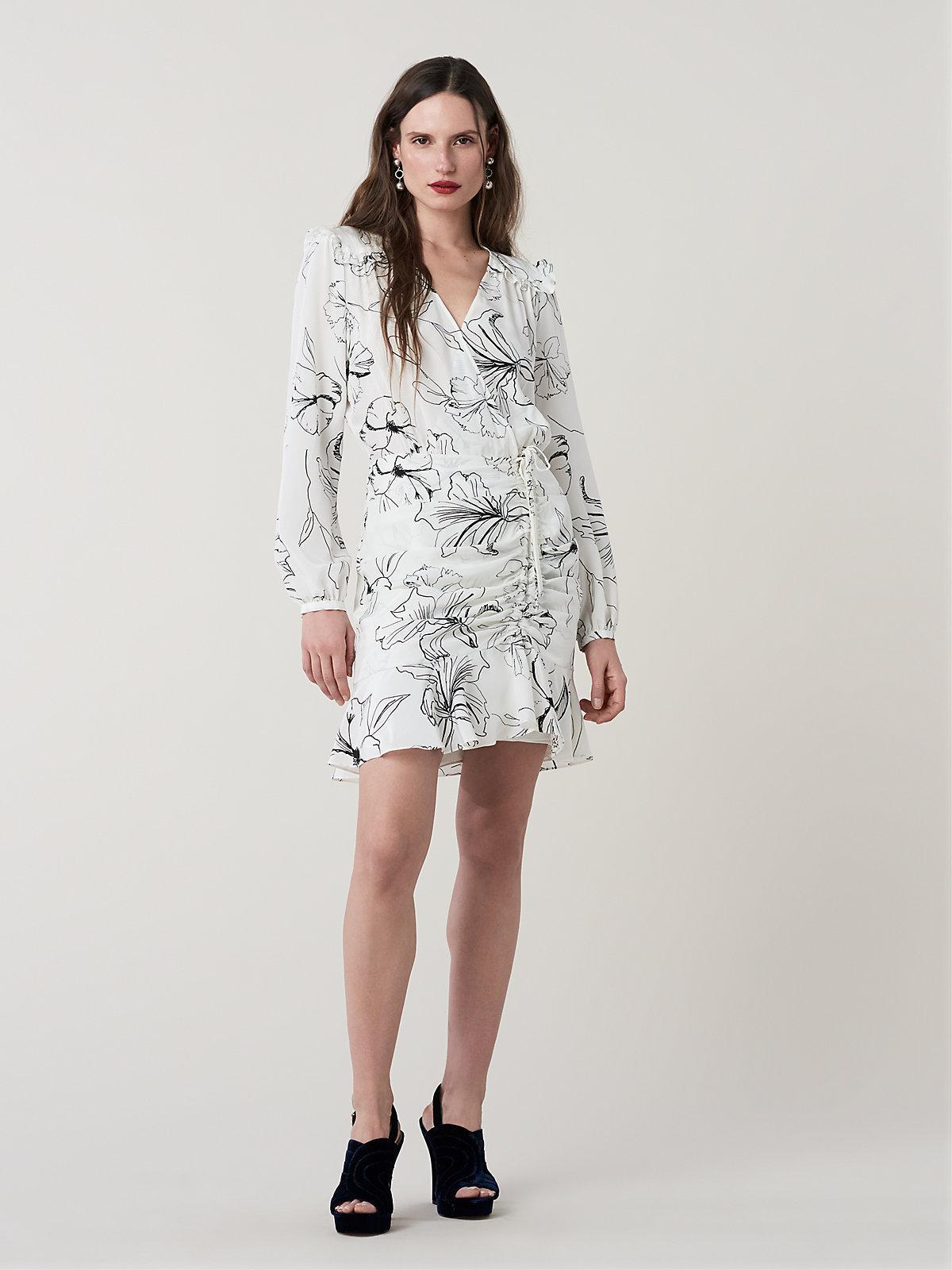 add7b04ae7a57 Lyst - Diane von Furstenberg Seline Ruffled Silk Mini Dress in White