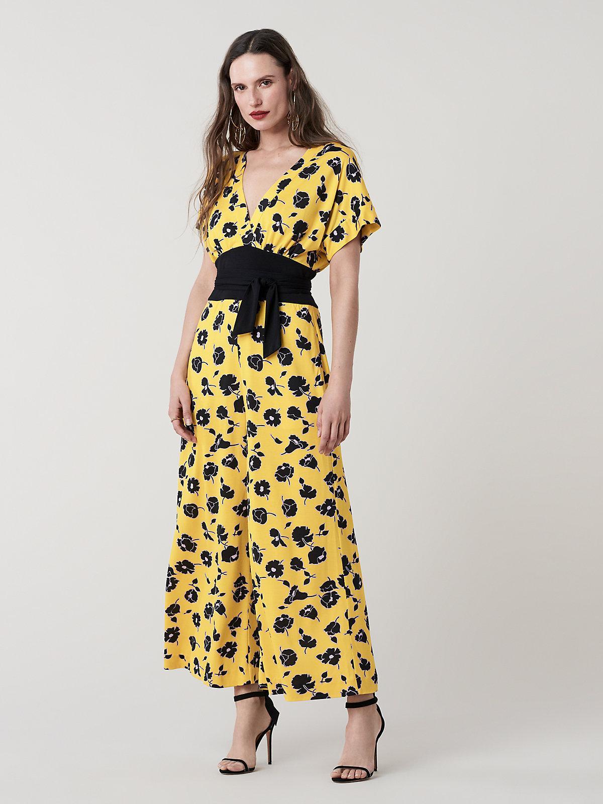 eca3400dcd Lyst - Diane von Furstenberg Evangeline Silk Wide Leg Jumpsuit in Yellow