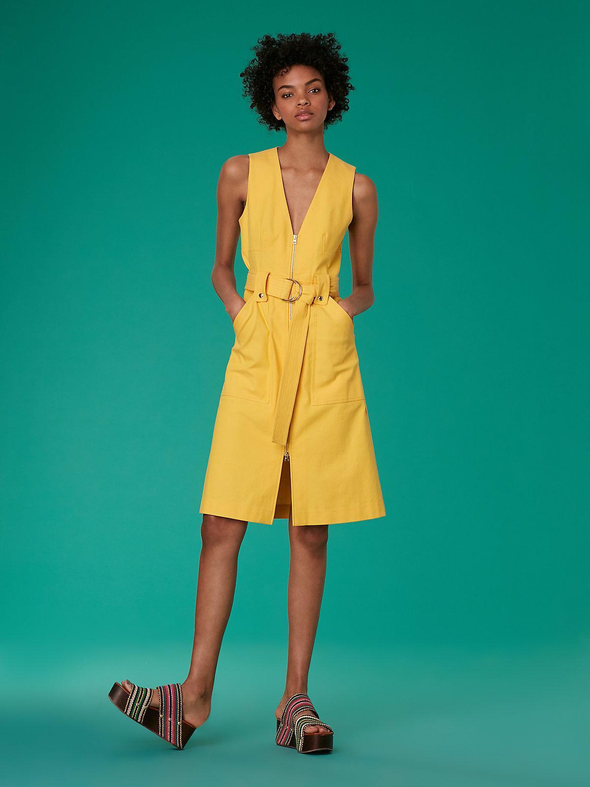 314502634199 Lyst - Diane von Furstenberg Sleeveless A-line Zip Front Denim Dress ...