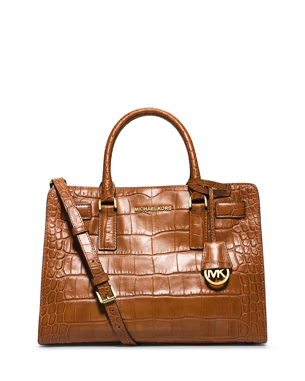 aab2431c914a ... cheap promo code for lyst michael michael kors dillon croc embossed satchel  bag in brown ac1ce