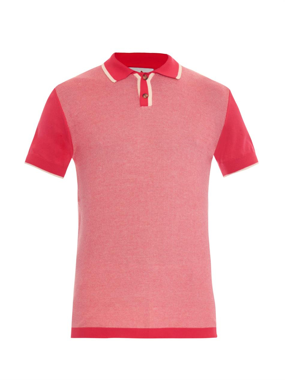 Orley micro stitch knit polo shirt in pink for men lyst for Knitted polo shirt mens