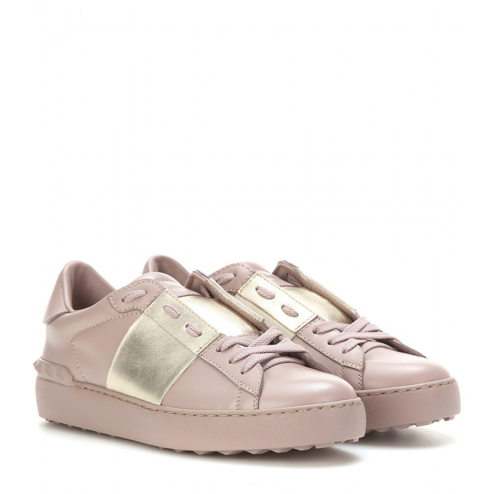 valentino open metallic leather sneakers in lyst