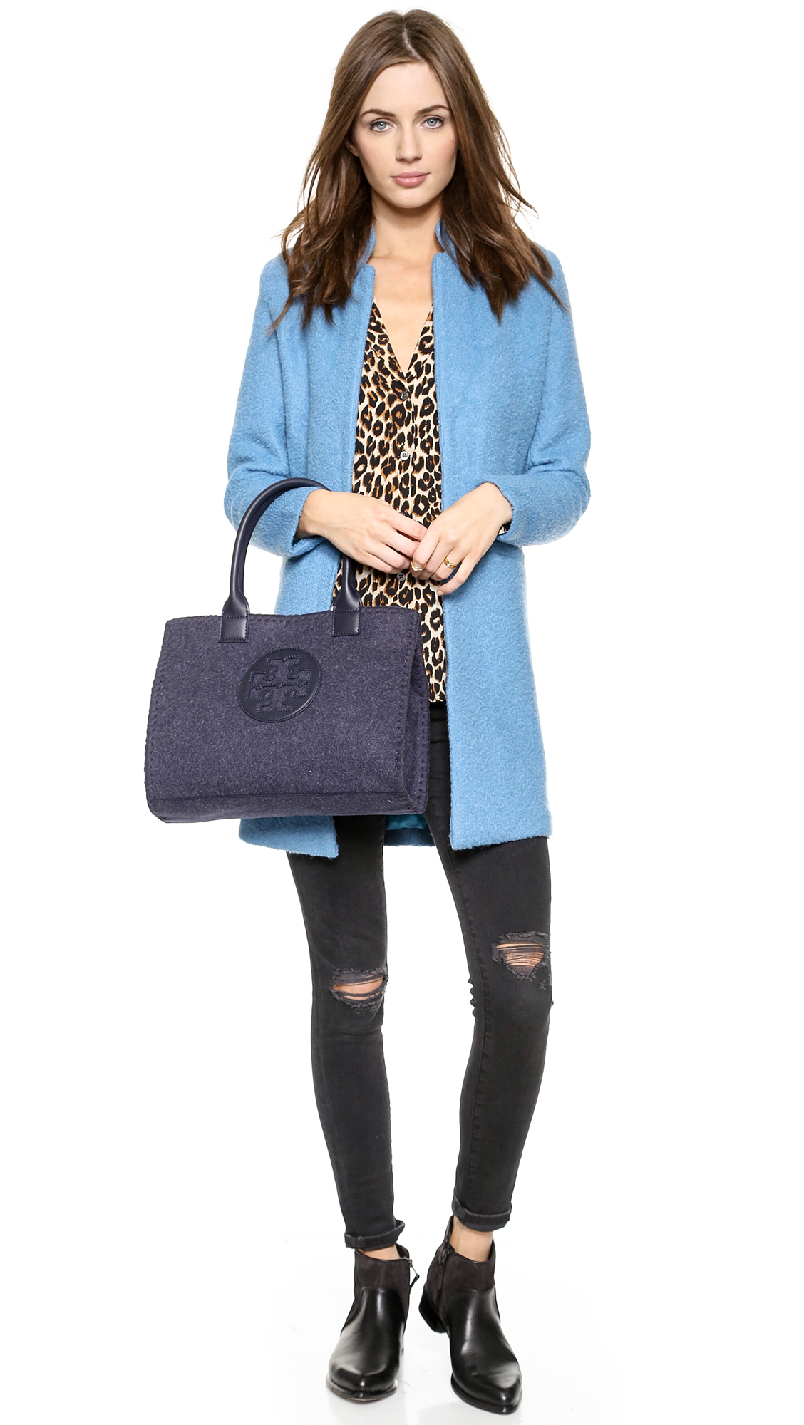 0046be3cb379 Lyst - Tory Burch Ella Stitched Mini Tote - Tory Navy in Blue