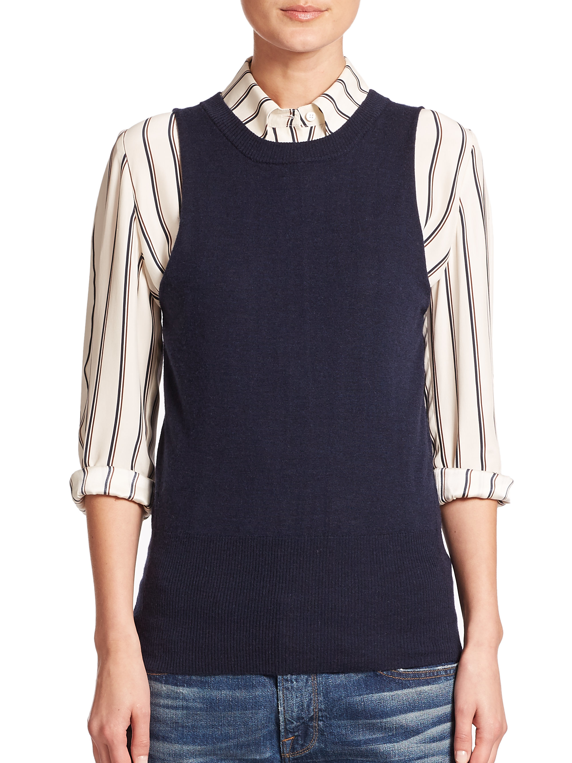 Frame Wool & Cashmere Sleeveless Sweater in Blue | Lyst