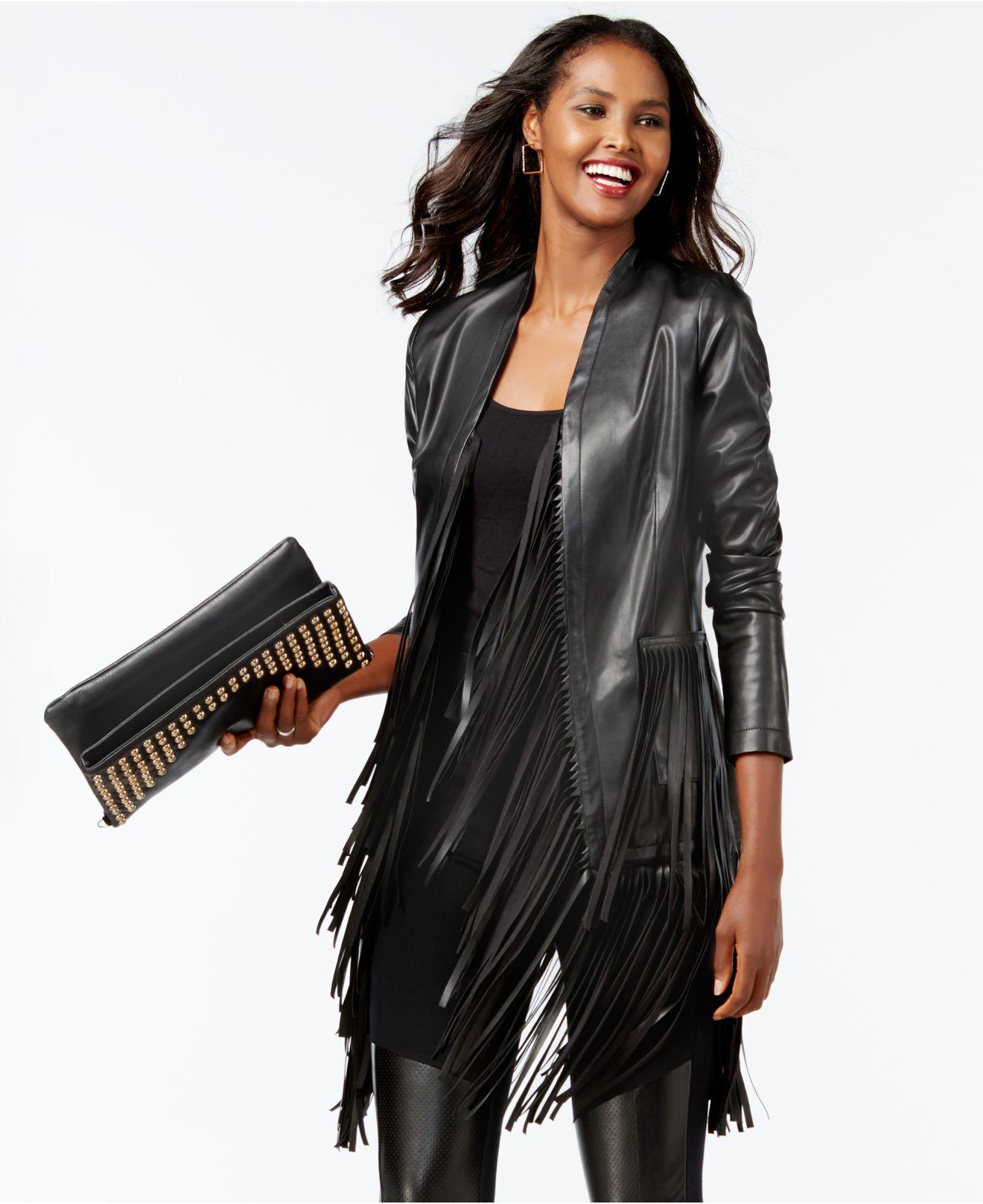 Leather jacket with fringe - Inc International Concepts Vakko For Fringe Trim Faux Leather