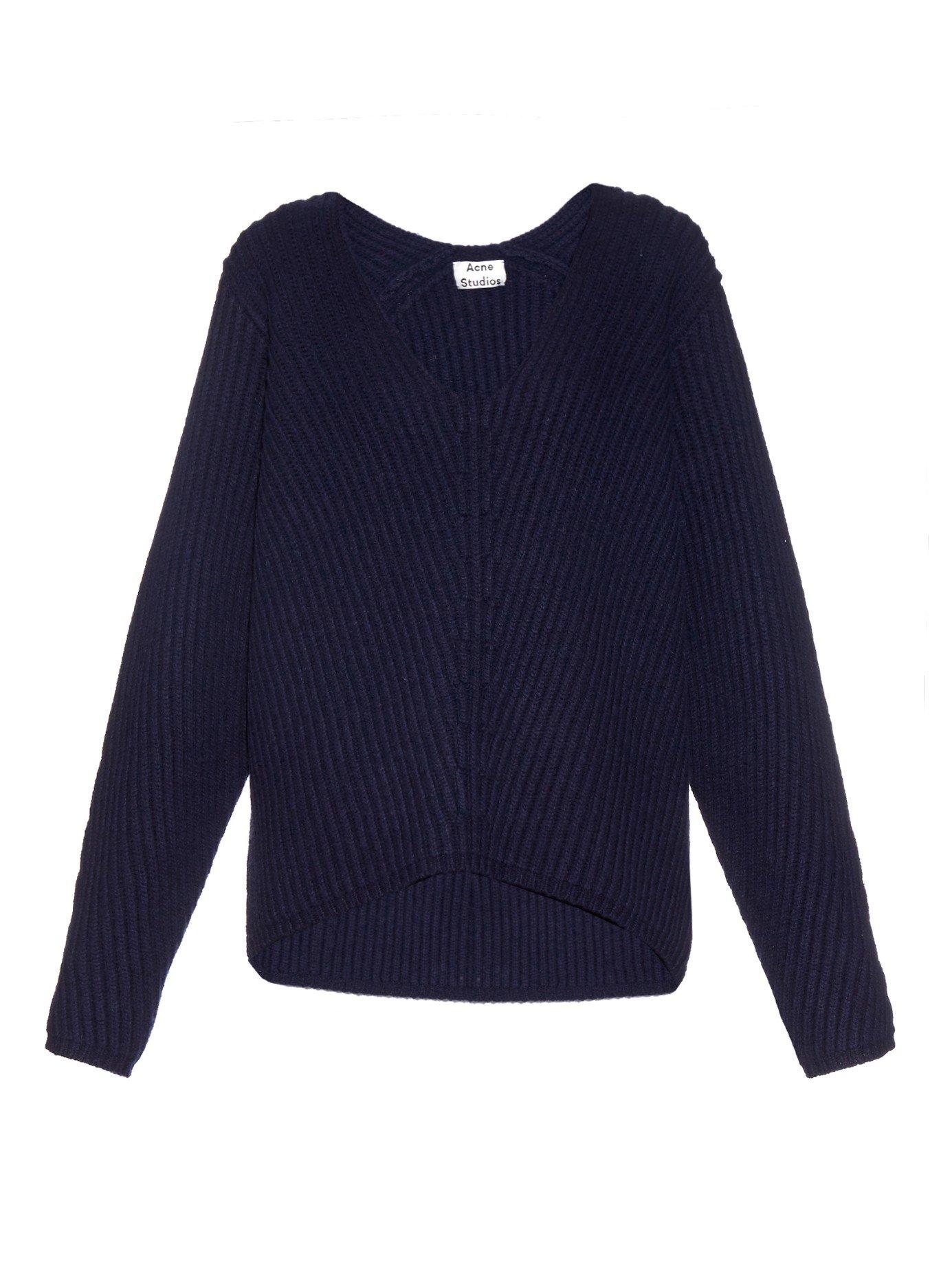 Acne studios Deborah Ribed-knit Wool Sweater in Blue | Lyst