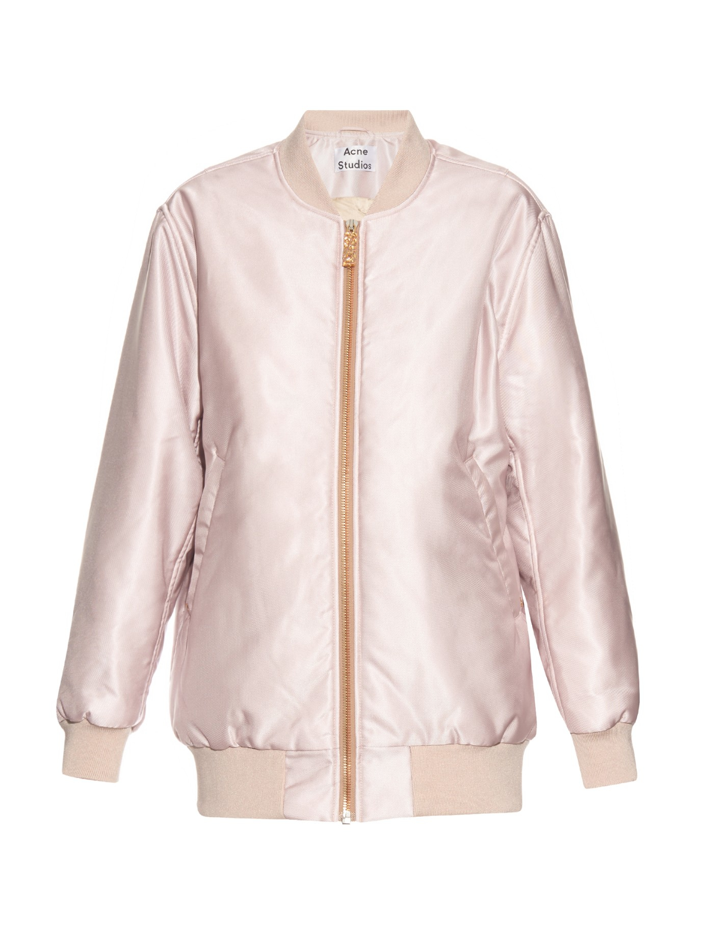 Acne Selow Satin Bomber Jacket In Pink Lyst