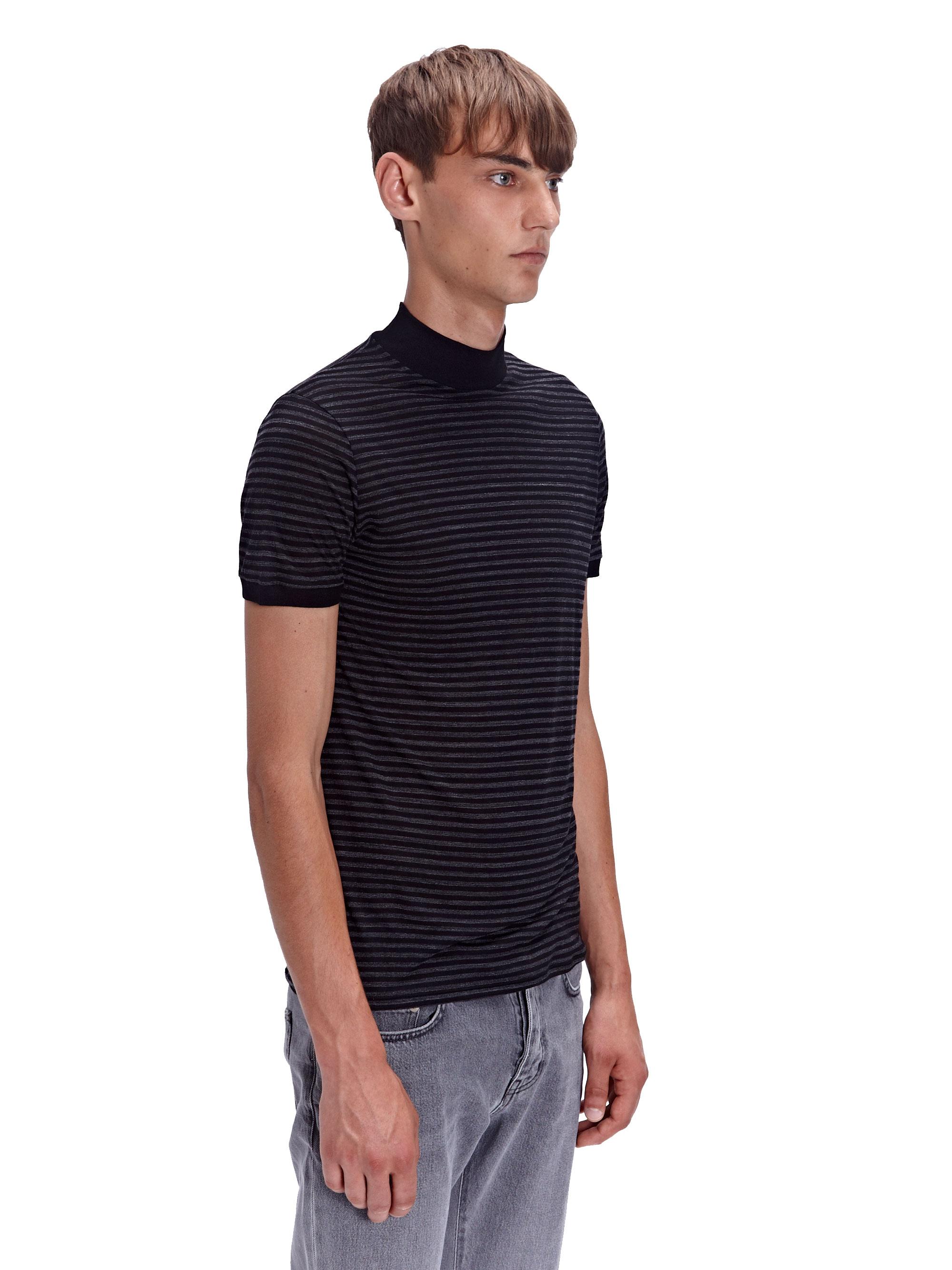 Lyst saint laurent mens high neck t shirt in gray for men for Mens t shirt online