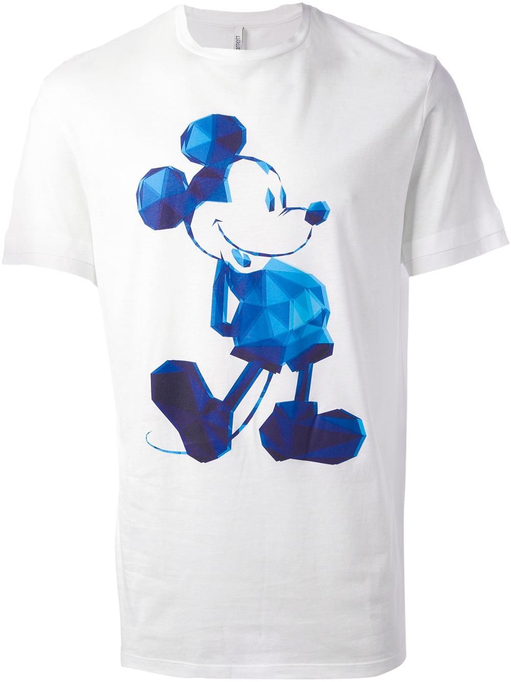 neil barrett mickey mouse print tshirt in white for men lyst. Black Bedroom Furniture Sets. Home Design Ideas