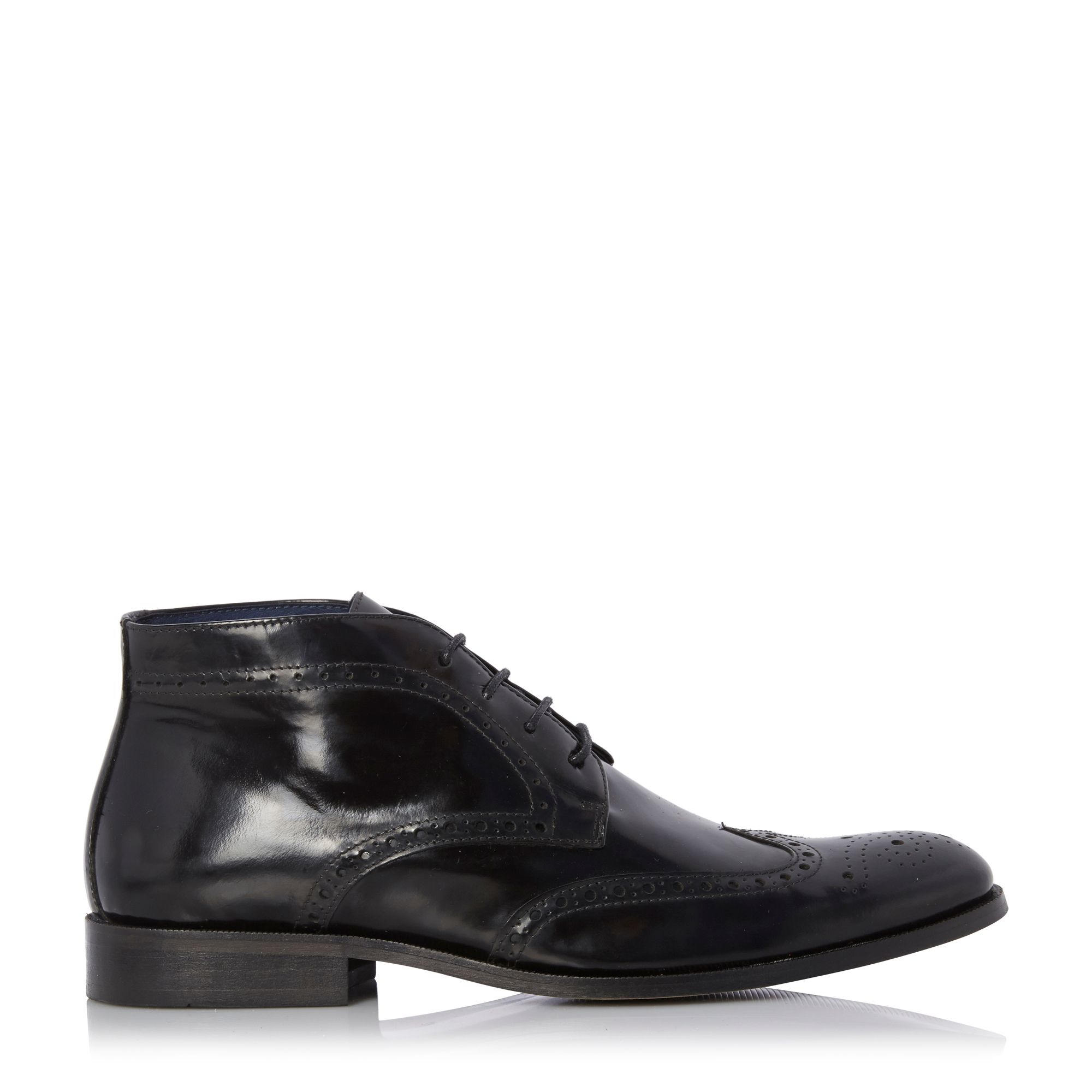 dune manhatten high shine leather brogue boots in black