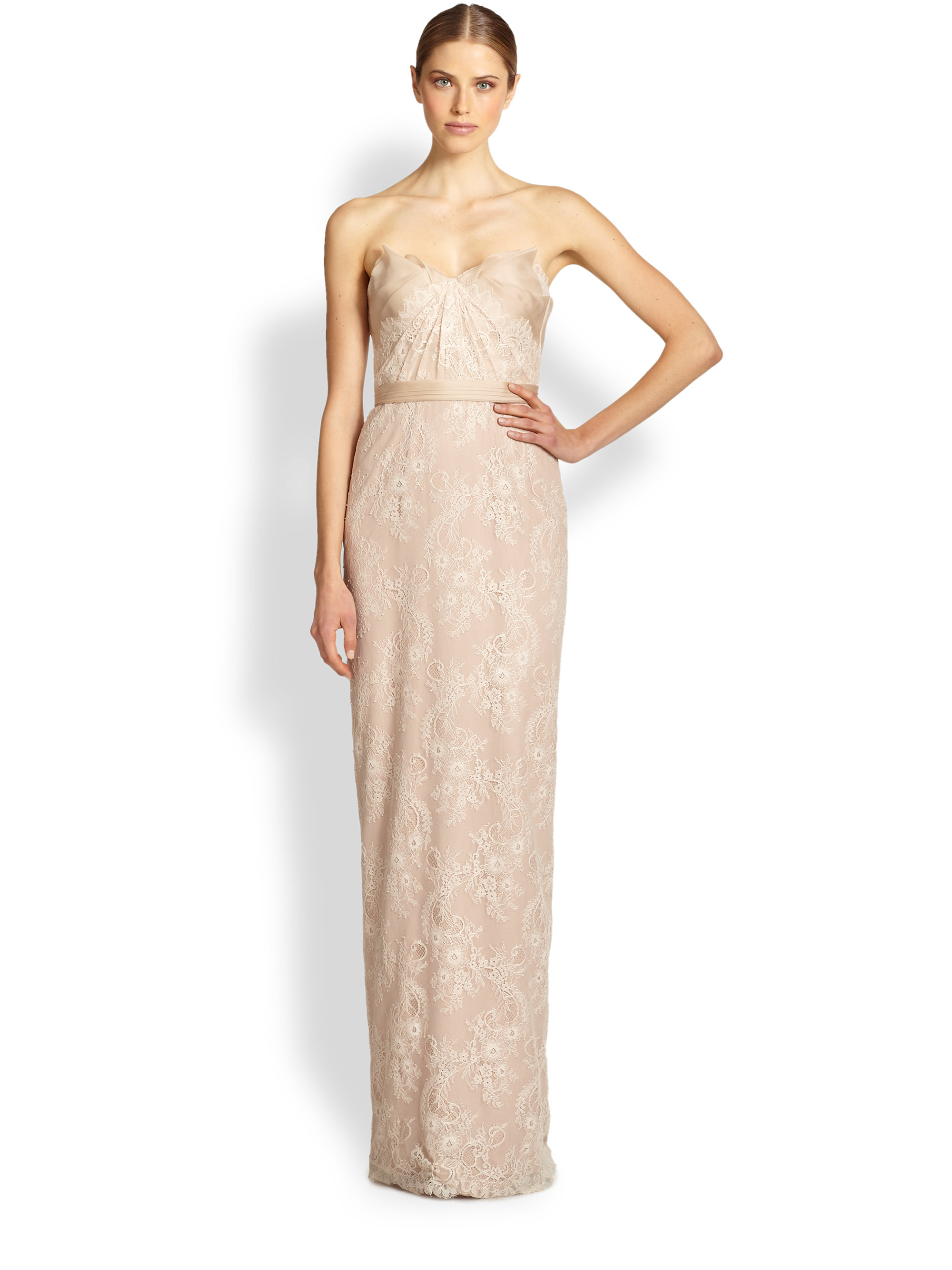 Notte by marchesa Draped Strapless Lace Gown in Natural