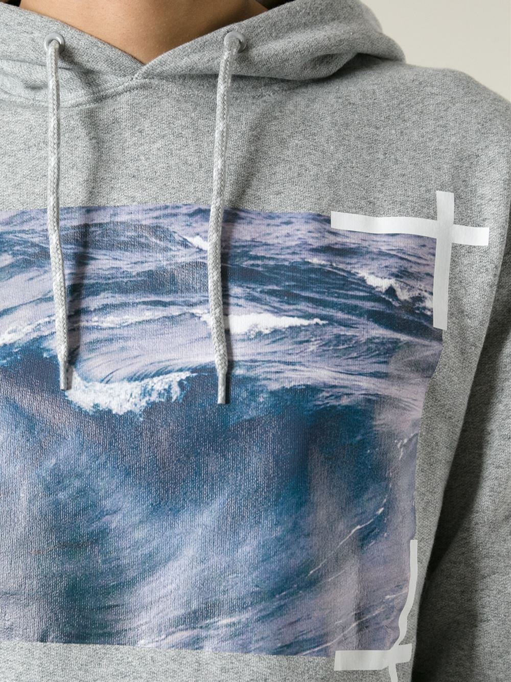 Off White C O Virgil Abloh Wave Print Hoodie In Gray For
