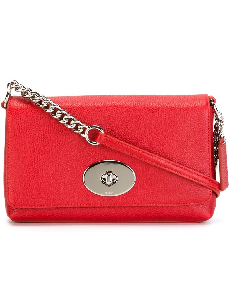 Lyst - COACH Cross Town Leather Cross-Body Bag in Red 3e0f8bfe1bbc