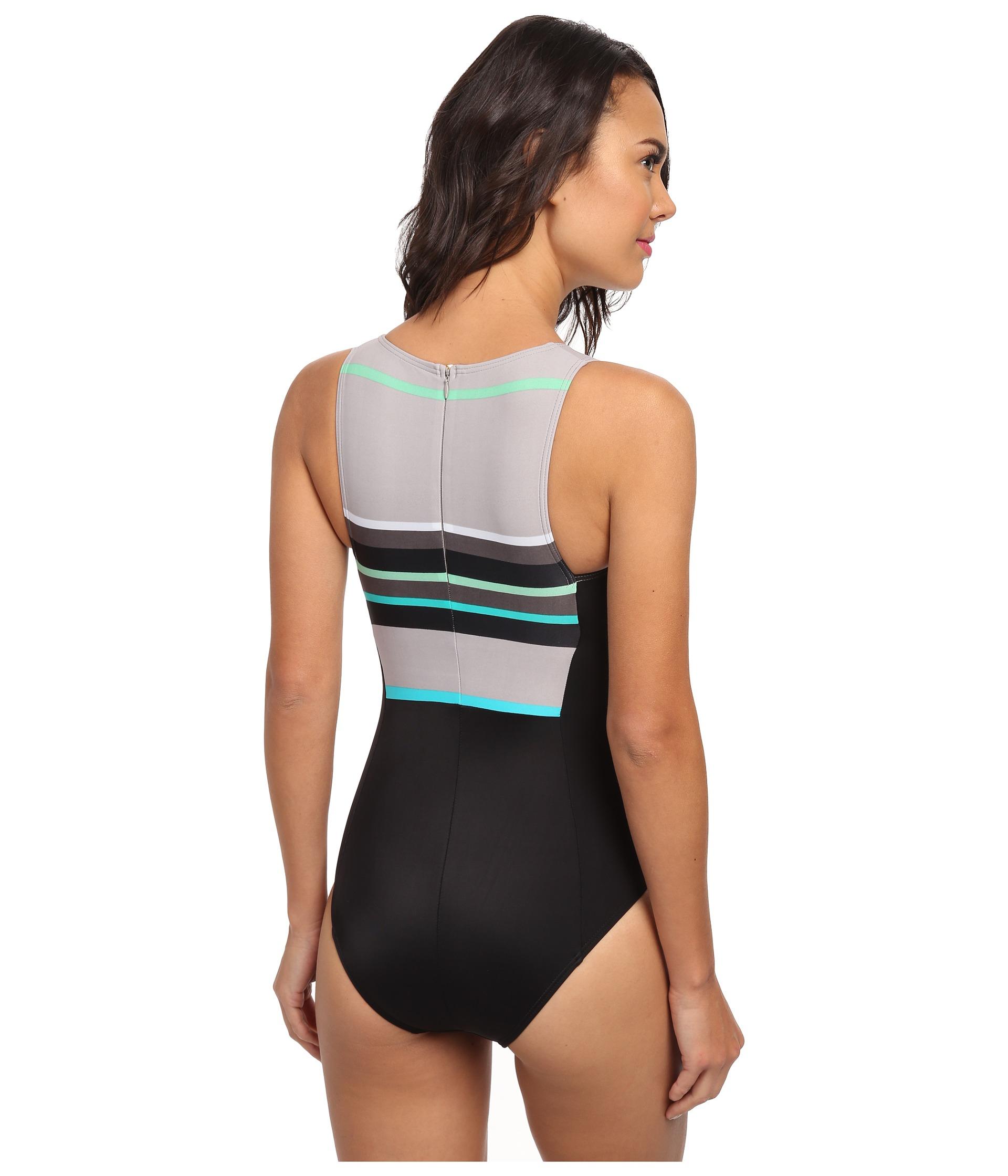 48ed20eda442b DKNY Slip Stripes High Neck Maillot One-piece in Black - Lyst