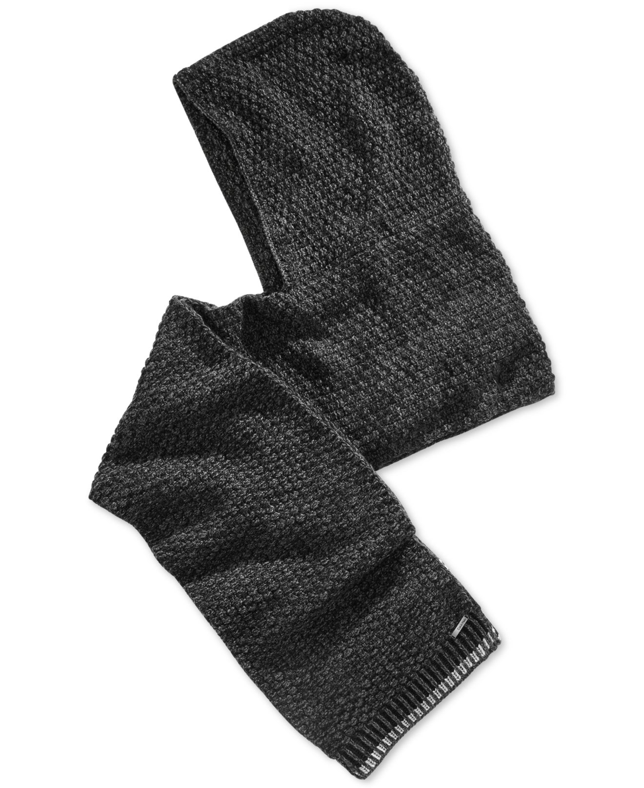 calvin klein twisted thermal hooded scarf in black for