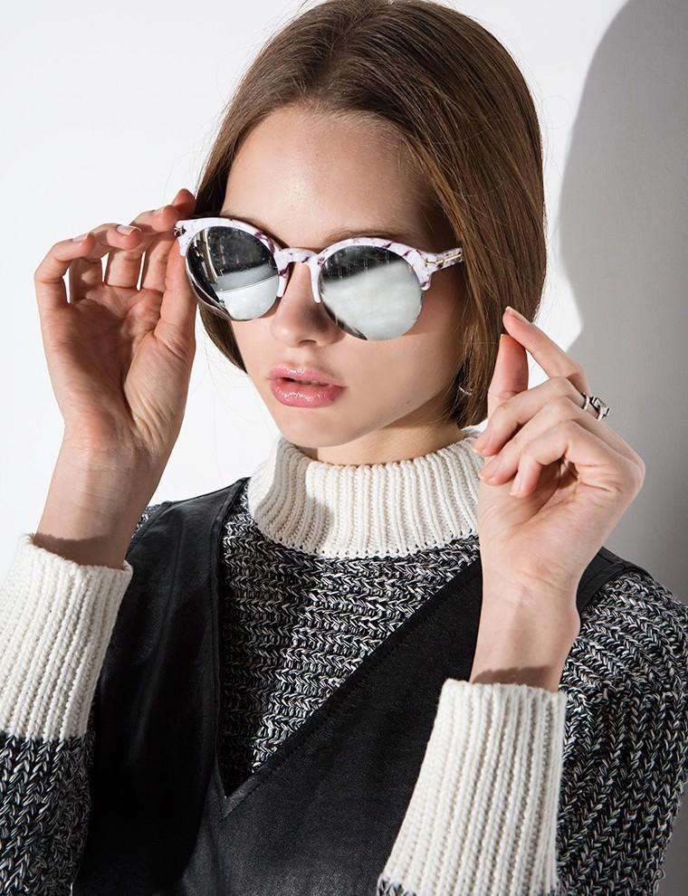 Mirrored Round Sunglasses  pixie market marble mirrored round sunglasses in white lyst