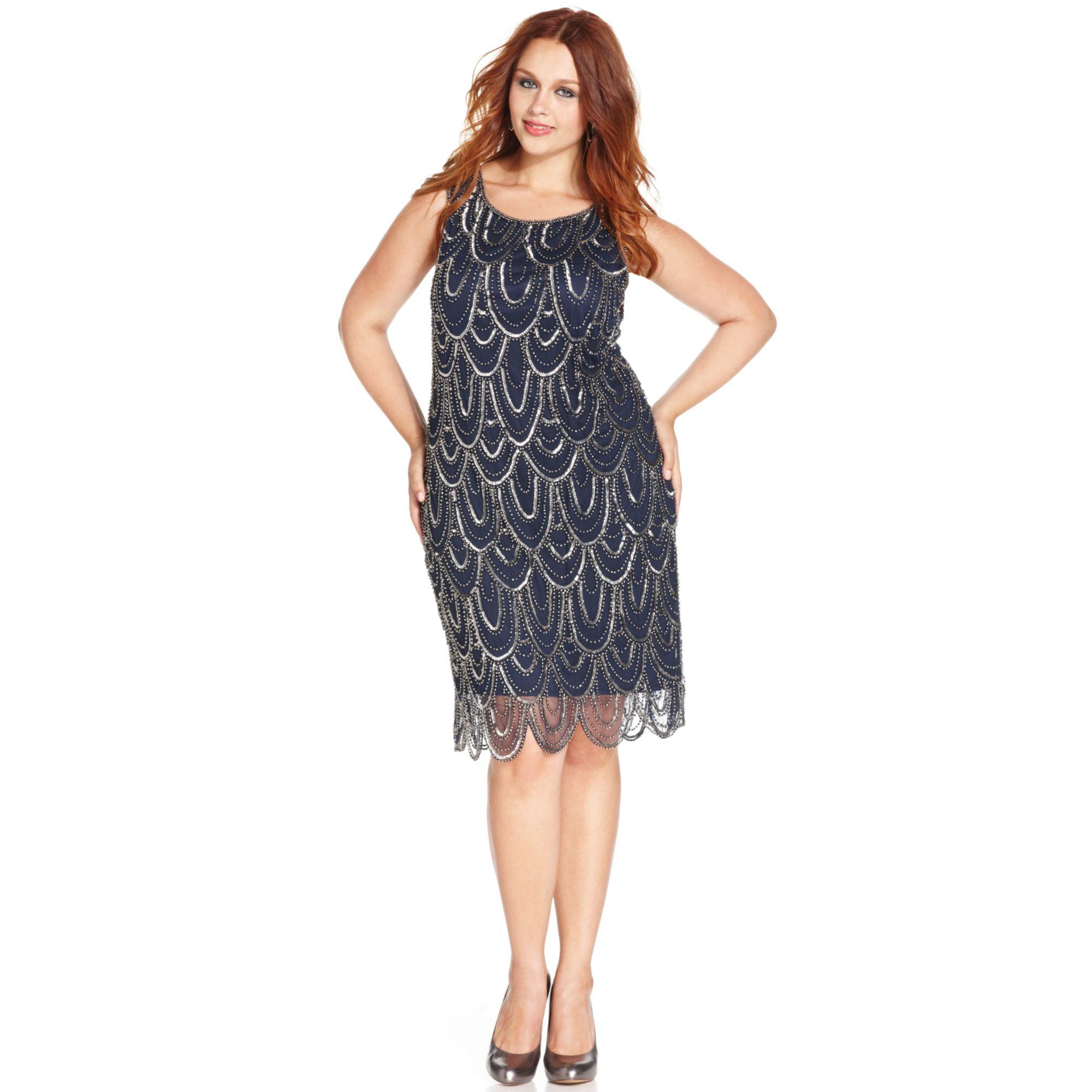 a0f0d5bc345 Lyst - Pisarro Nights Plus Size Beaded Scallop Hem Dress in Blue