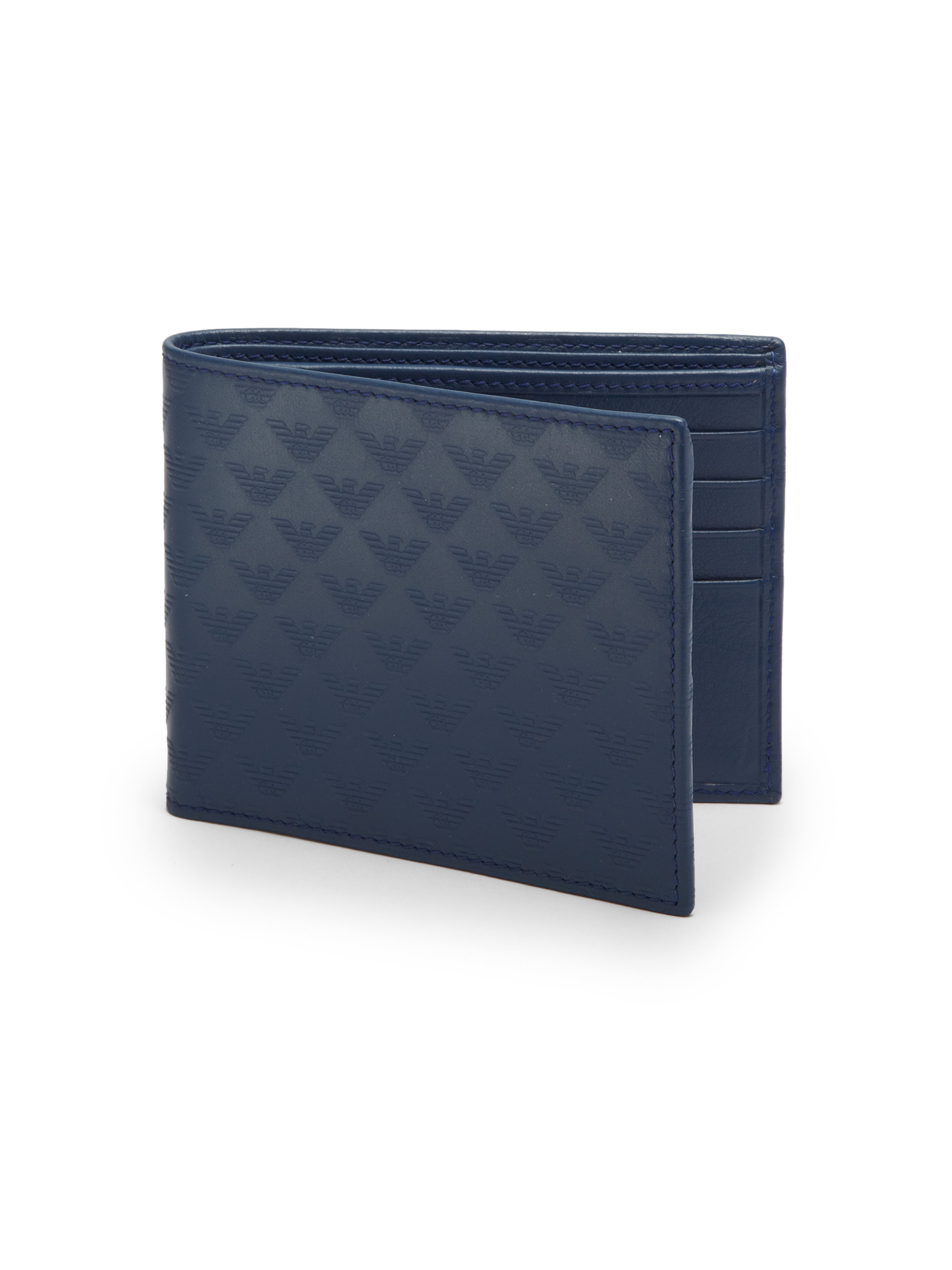 Lyst Emporio Armani Leather Wallet In Blue For Men