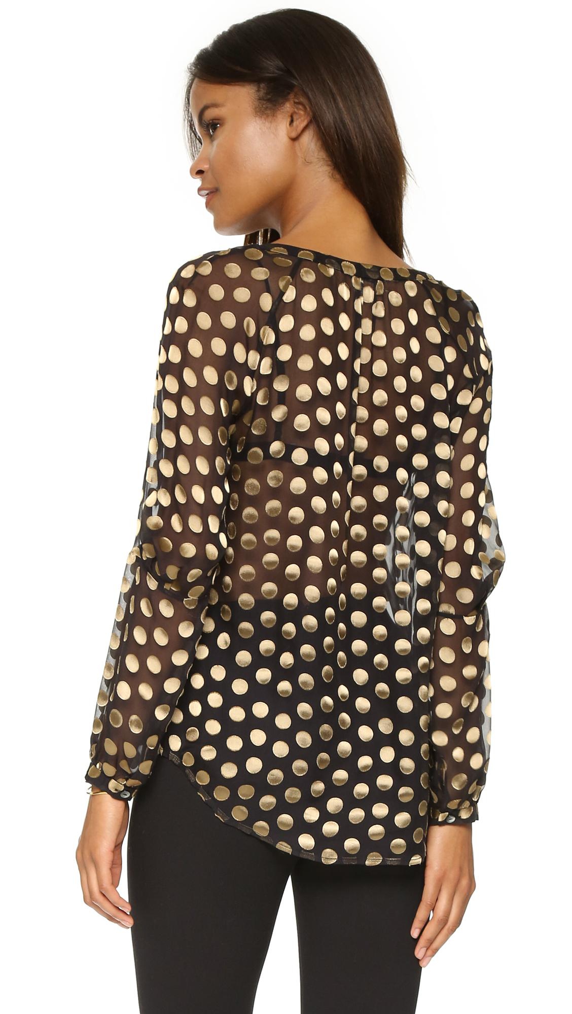 Diane von furstenberg V Neck Blouse - Black/gold in Black | Lyst