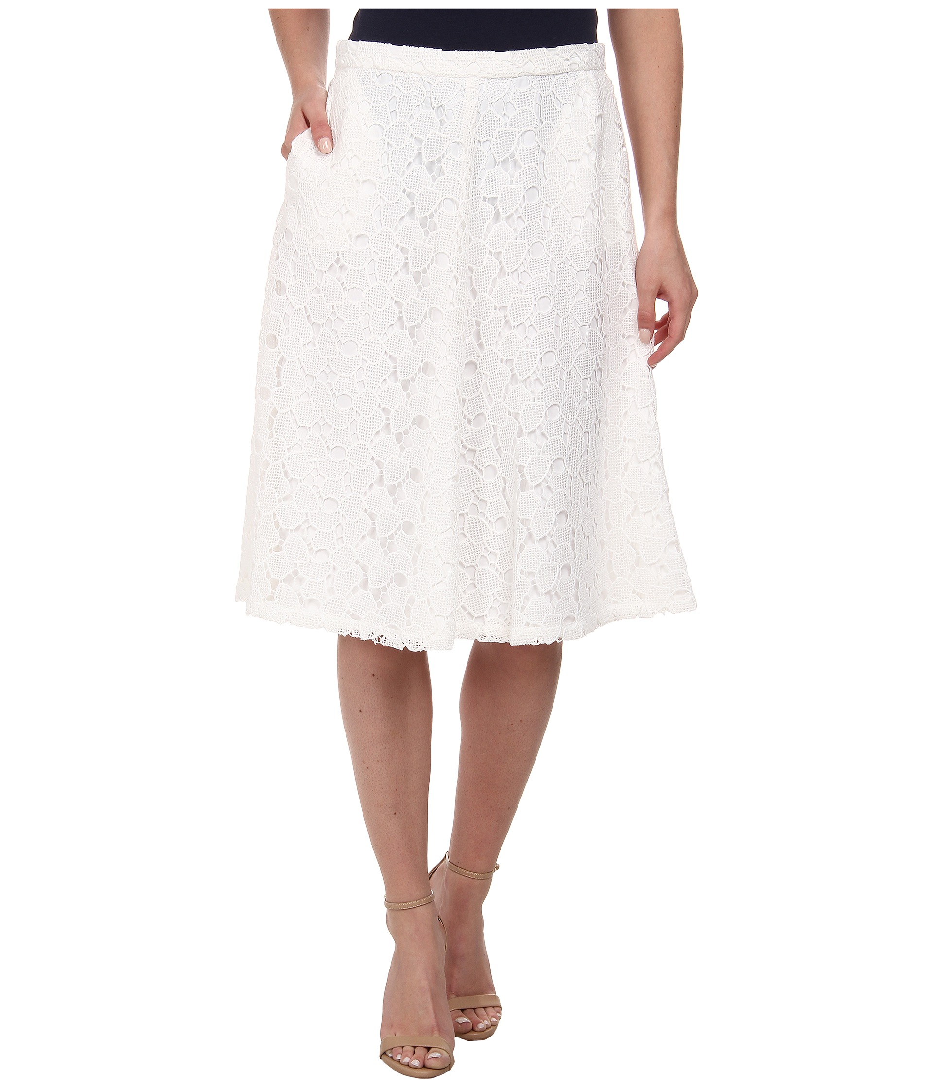 9ace232be5 Calvin Klein Lace Midi Skirt in White - Lyst