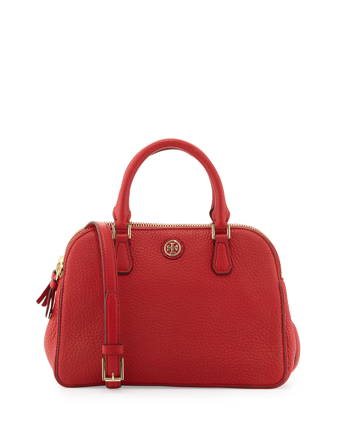Tory burch robinson small pebbled satchel bag in red lyst