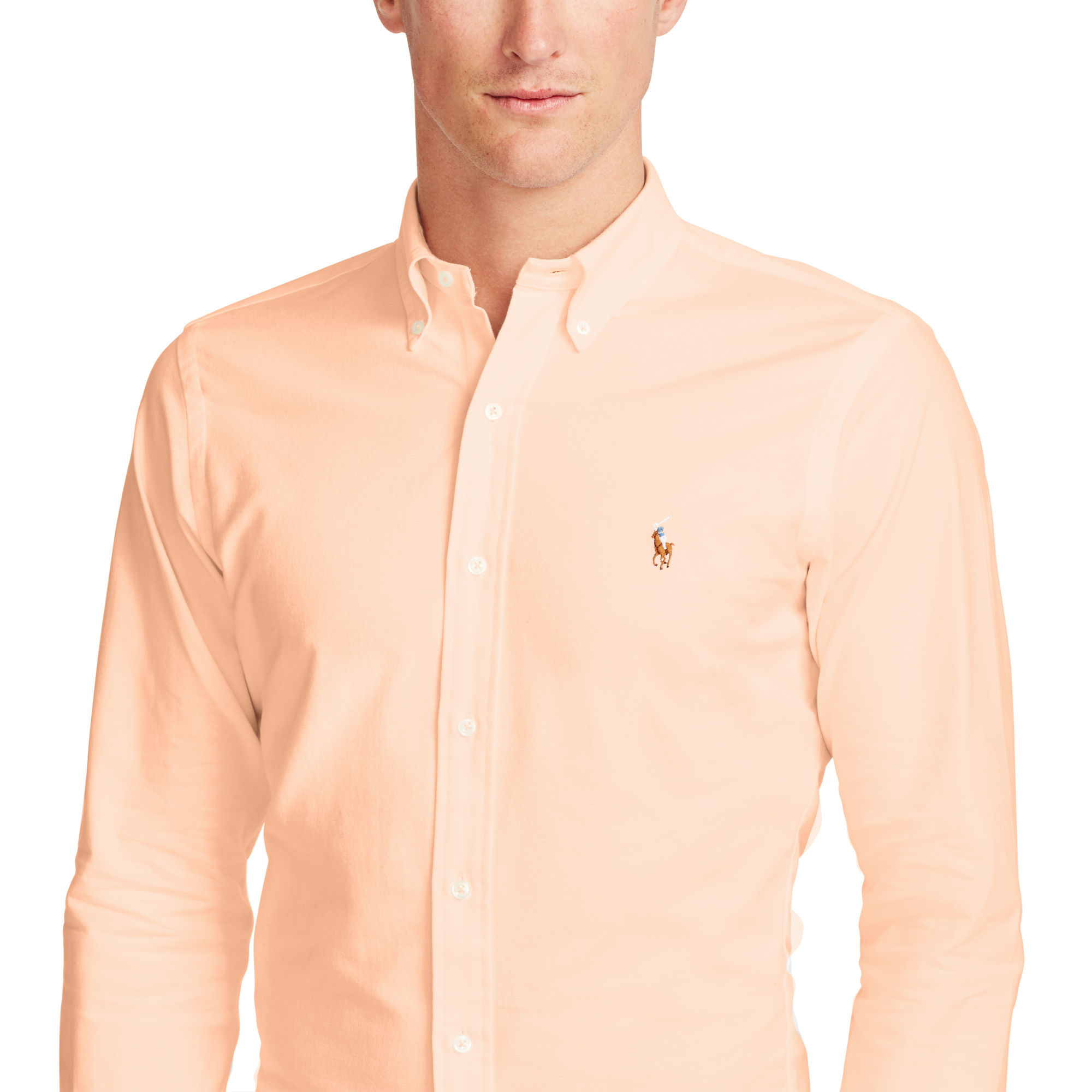 Polo Ralph Lauren Slim-fit Stretch Oxford Shirt in Orange for Men - Lyst 5a9243e4b714
