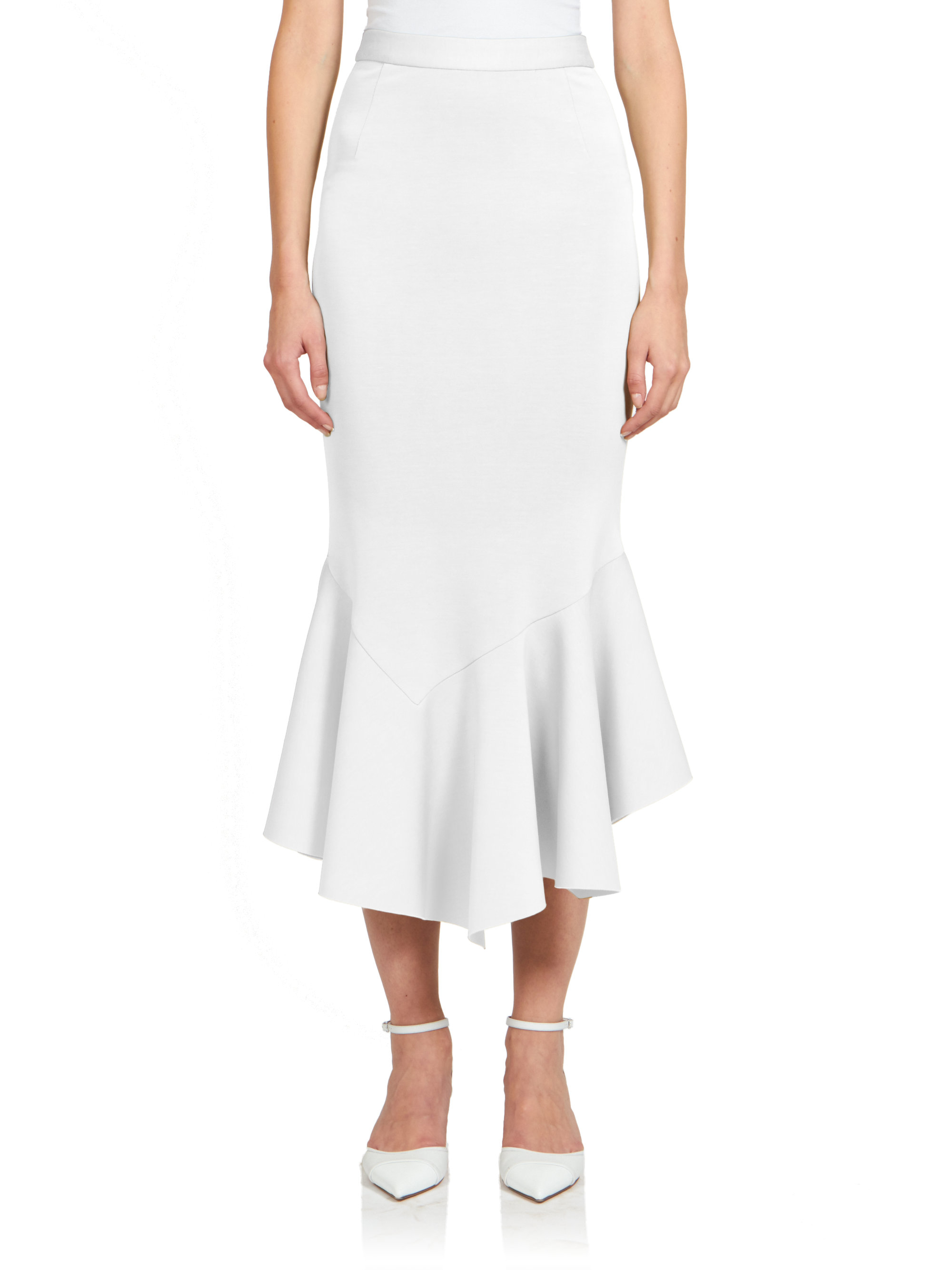 lyst givenchy crepe jersey ruffle midi skirt in white
