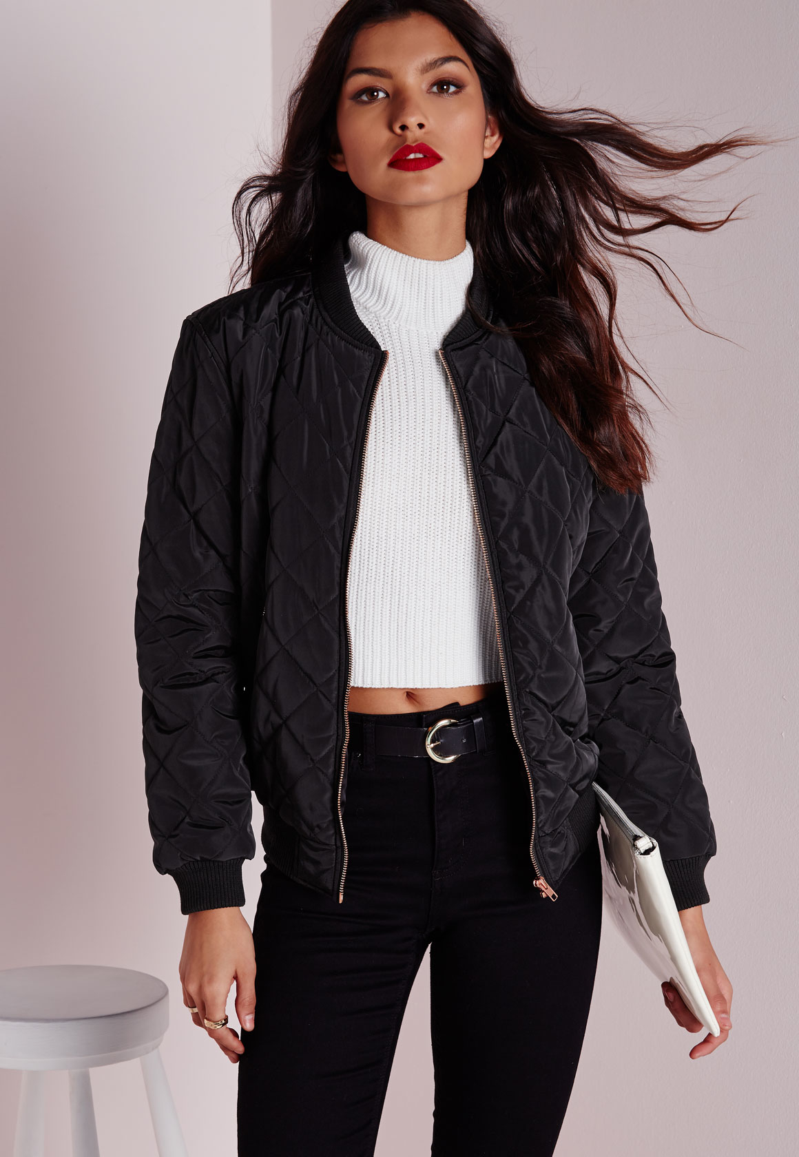 Lyst Missguided Quilted Padded Bomber Jacket Black In Black