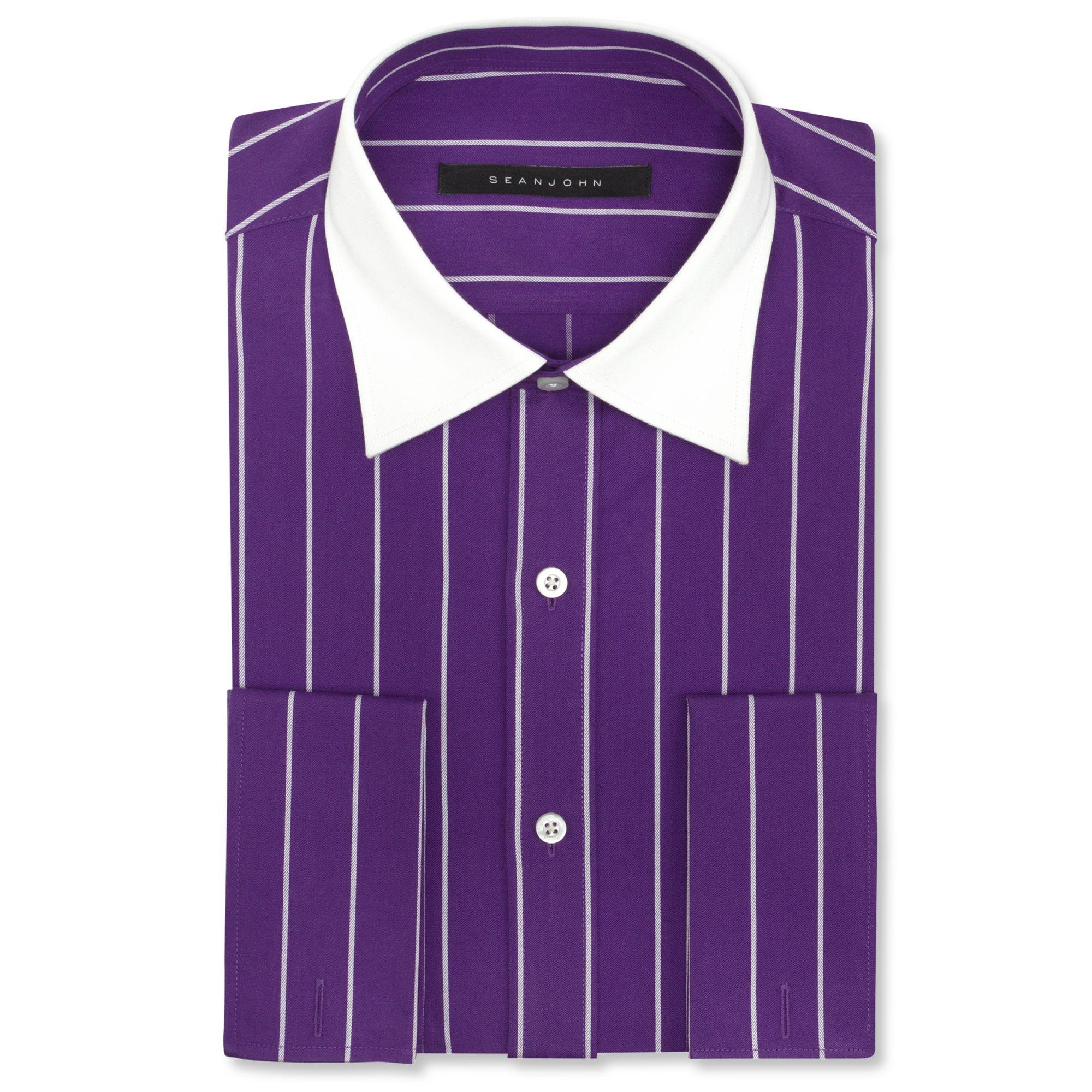 Sean john big and tall pinstripe french cuff shirt in for Big and tall french cuff dress shirts