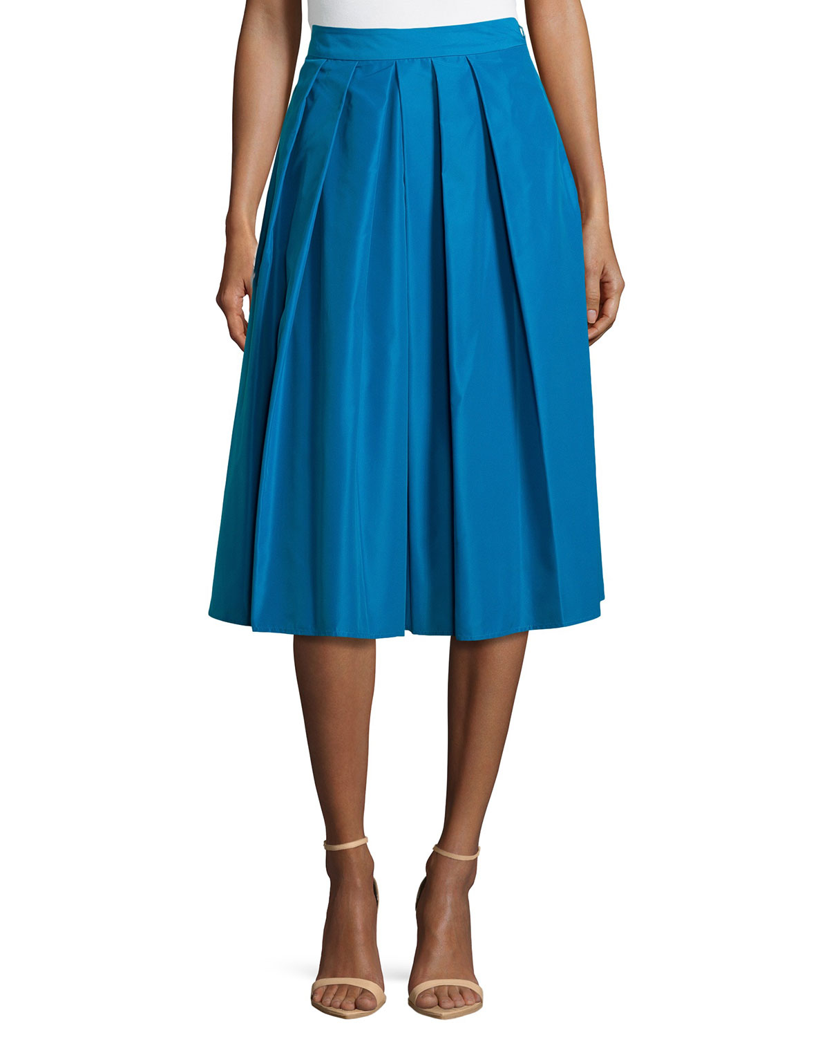 Catherine malandrino Ronnie Pleated A-line Midi Skirt in Blue | Lyst