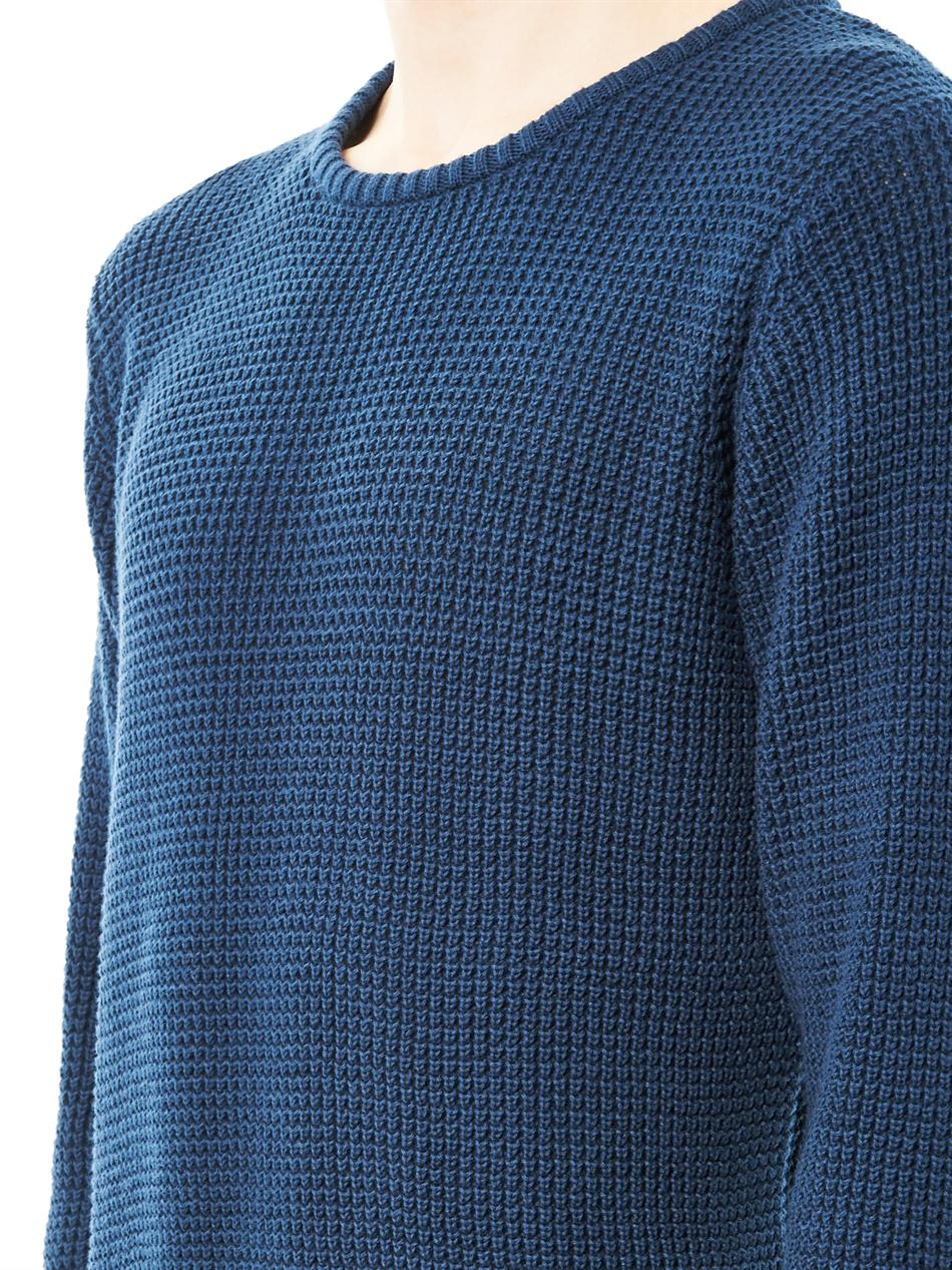 Sunspel Waffleknit Cotton Sweater in Blue for Men | Lyst