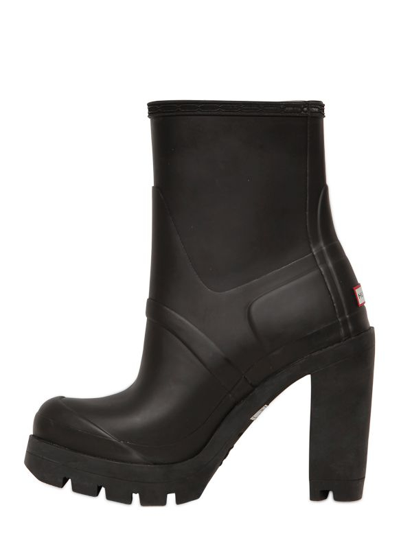 Lyst Hunter 110mm High Heel Rubber Ankle Boots In Black