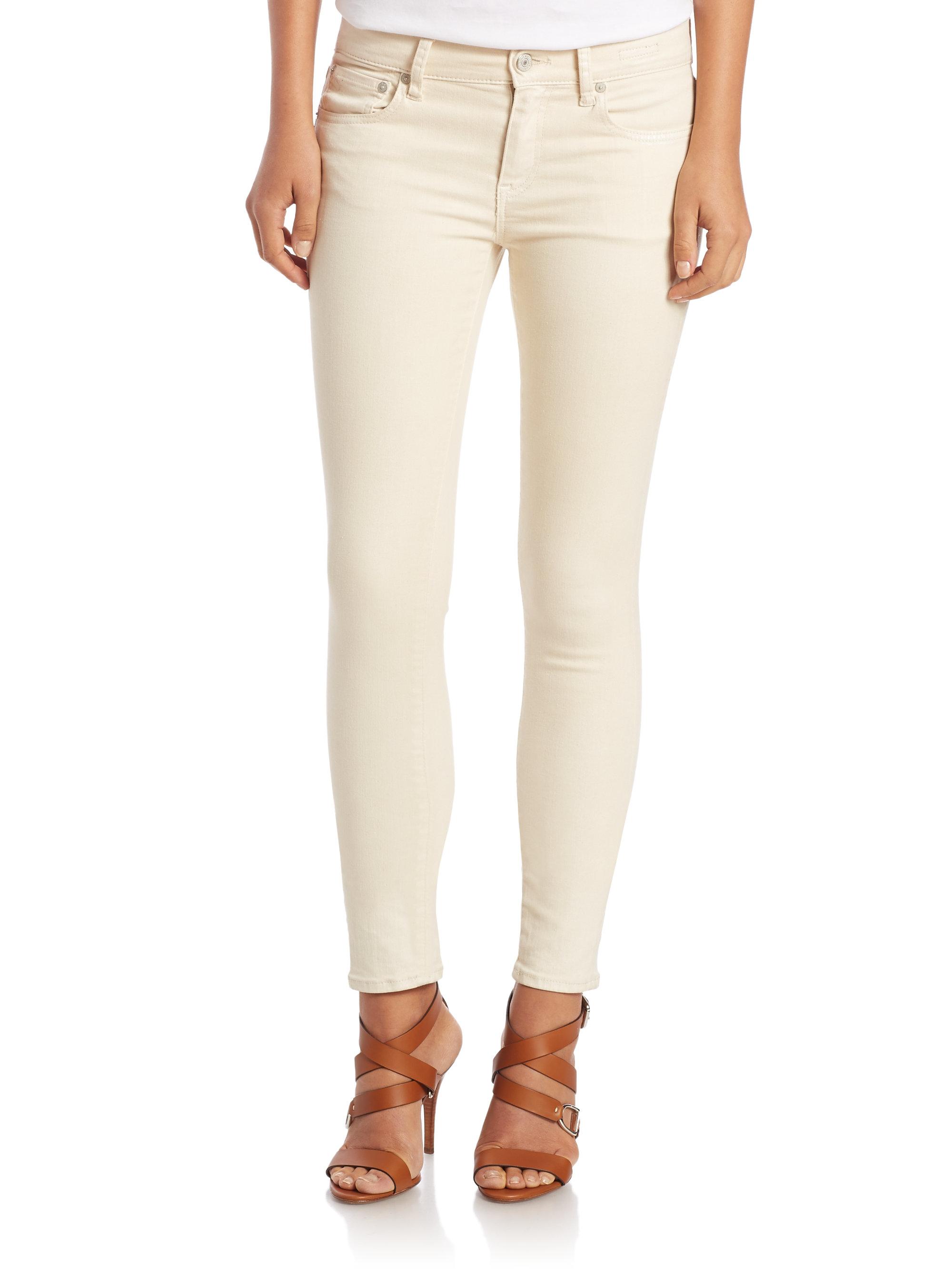 Cream denim skinny jeans