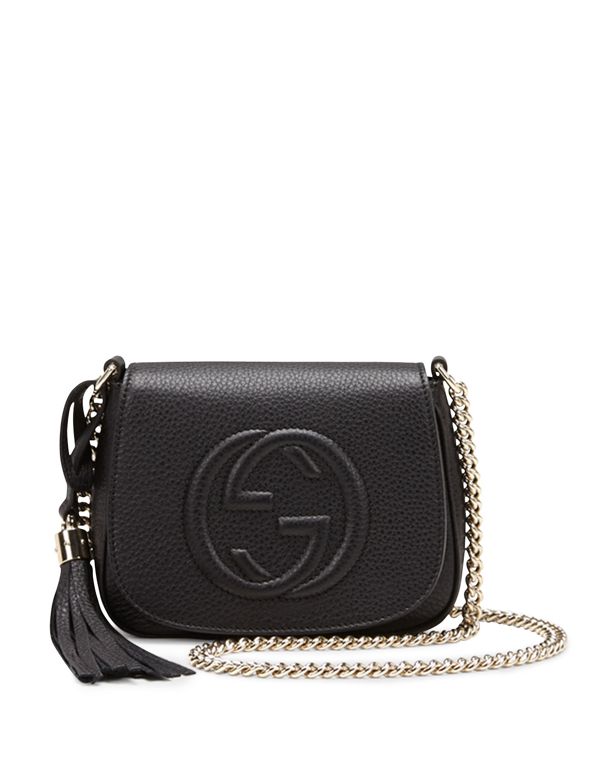 lyst gucci soho leather chain crossbody bag in black. Black Bedroom Furniture Sets. Home Design Ideas