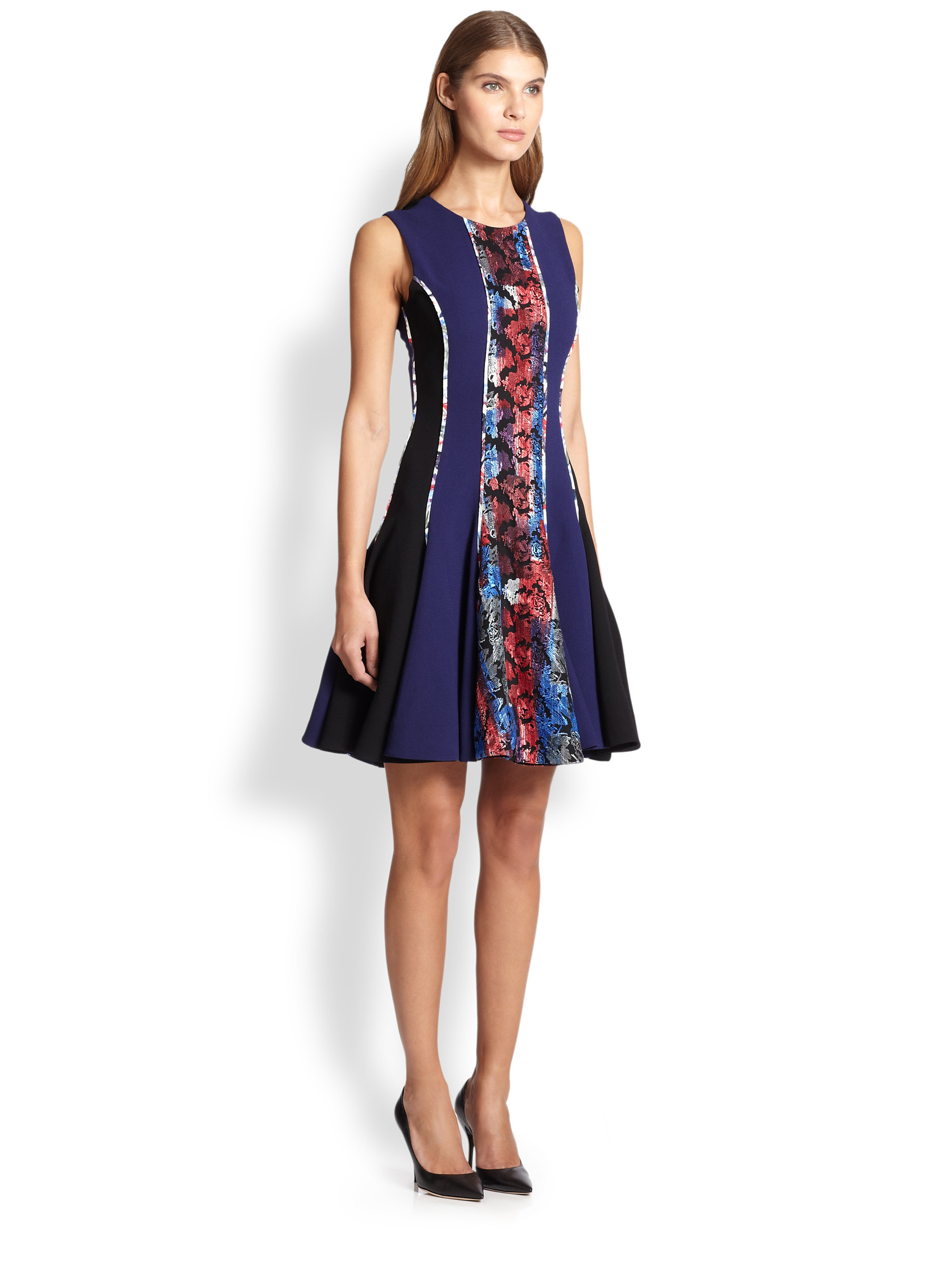 Prabal gurung Combo-Panel Fit-&-Flare Dress in Blue | Lyst