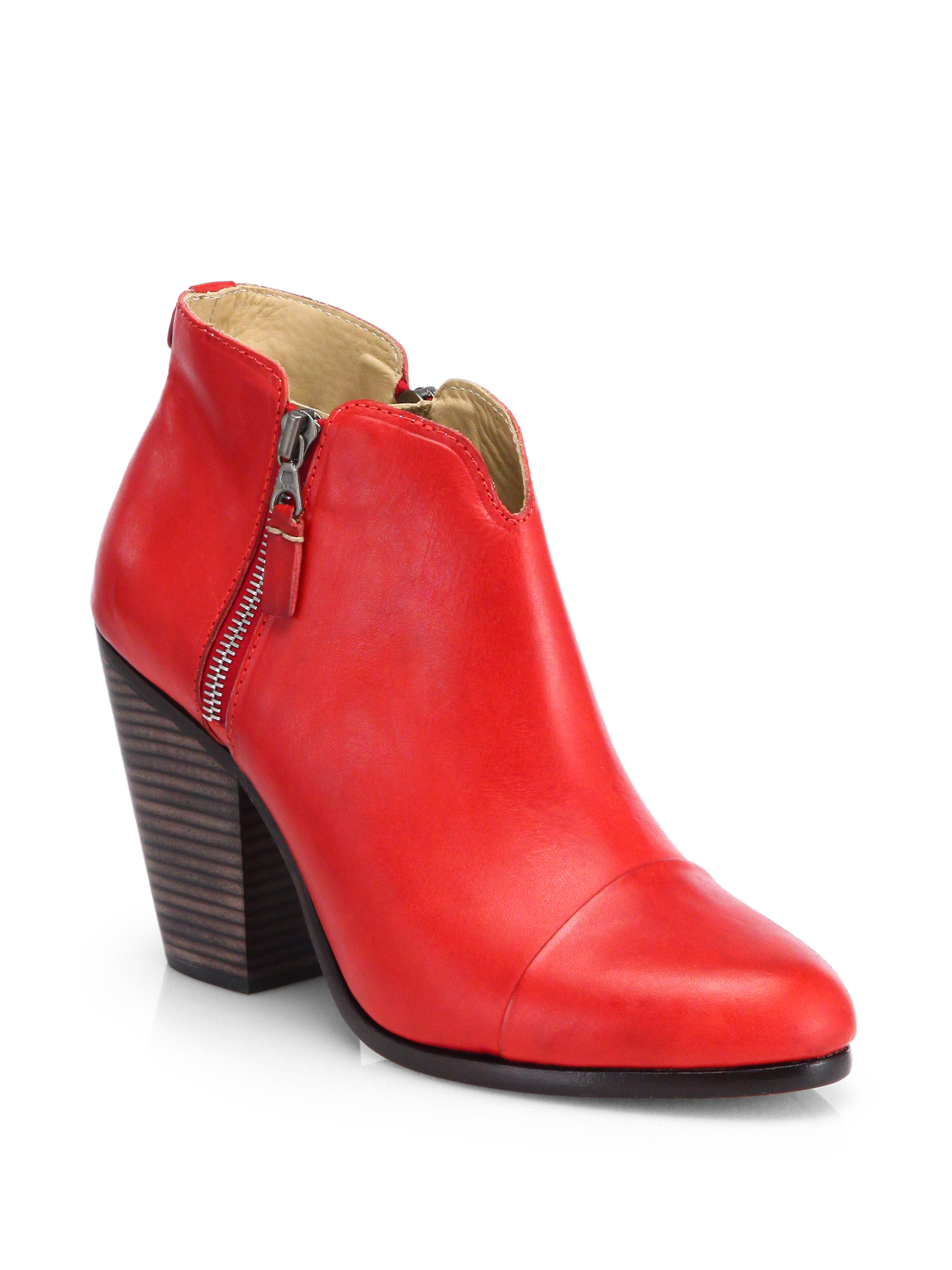 Rag Amp Bone Margot Leather Ankle Boots In Red Lyst