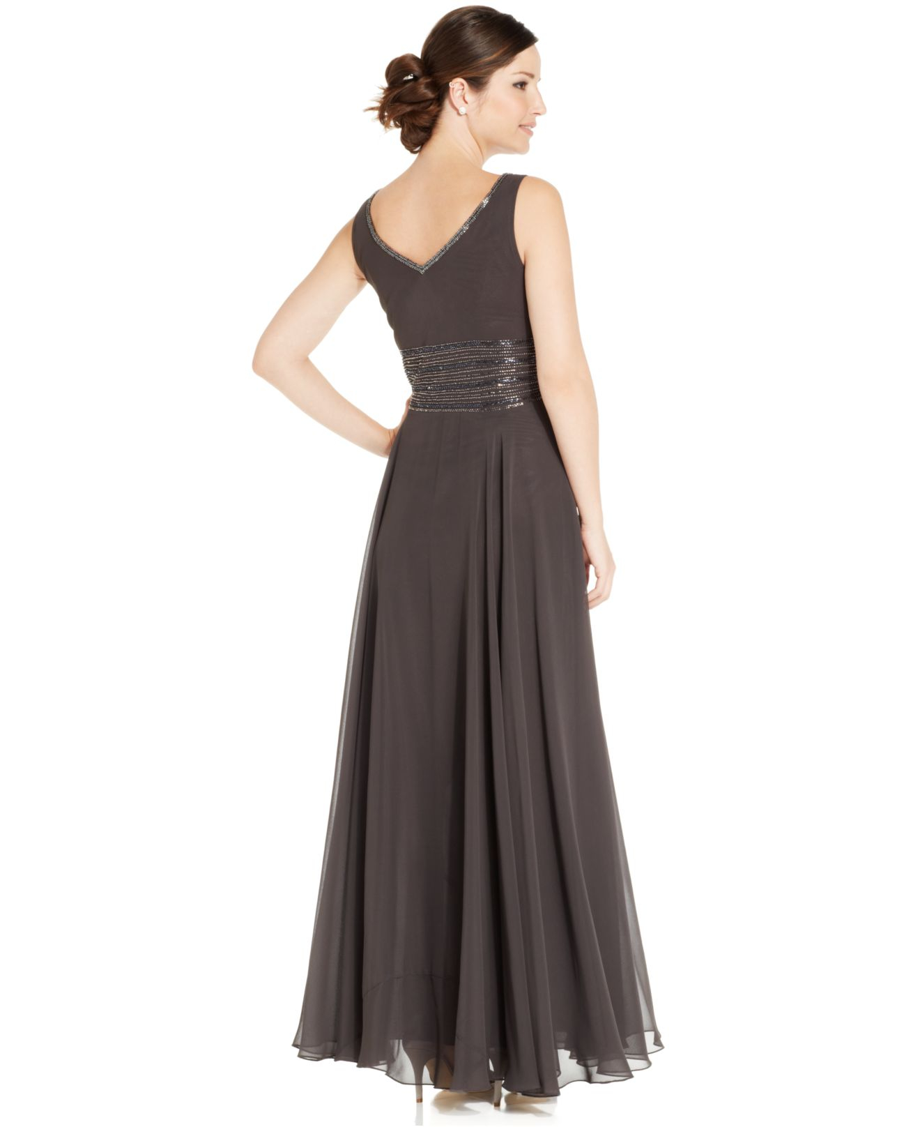 Lyst - J Kara Sleeveless Beaded Chiffon Gown And Jacket in Brown