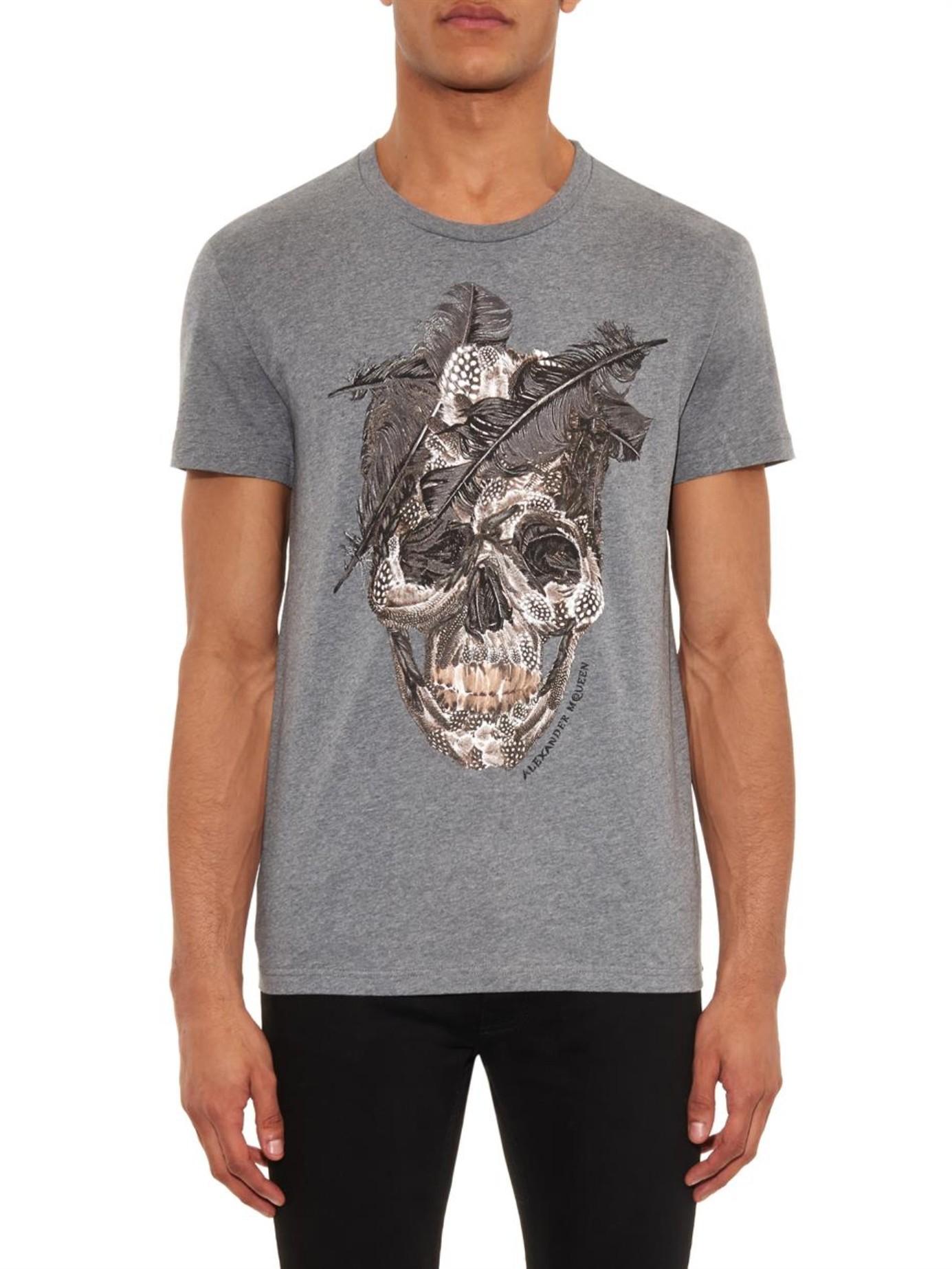 Alexander mcqueen skull print t shirt in gray for men lyst for Alexander mcqueen shirt men