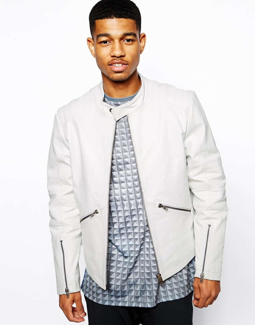 Lyst Asos Quilted Leather Jacket In White For Men