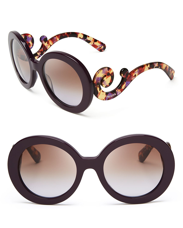 56a1c8bb8251 Prada Round Baroque Sunglasses in Purple - Lyst