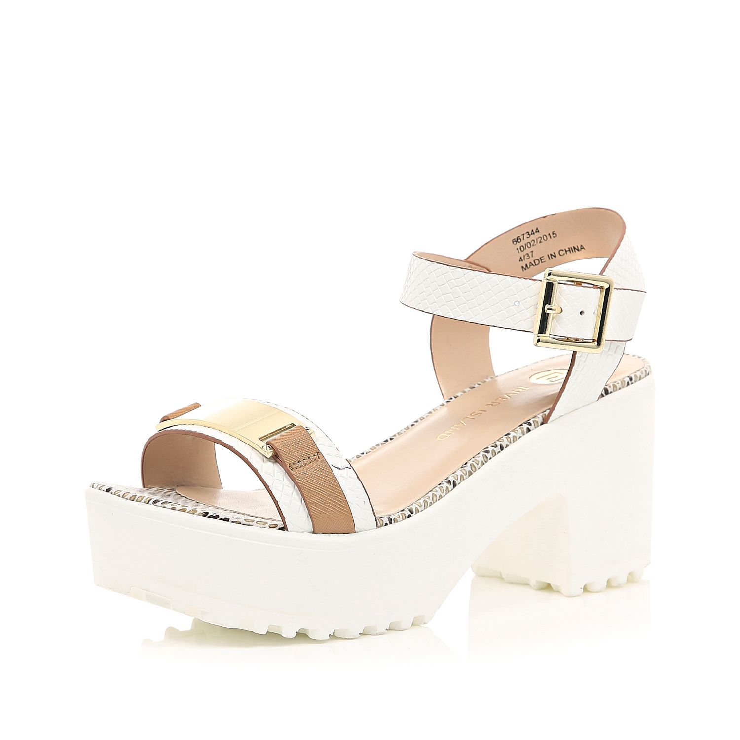 4ab8a72fc77 River Island White Chunky Cleated Sole Sandals in White - Lyst