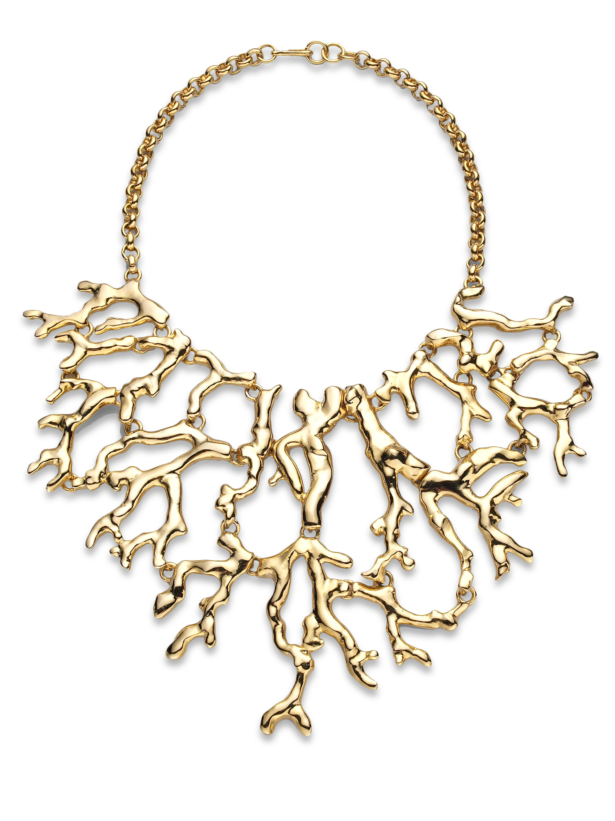 Kenneth Jay Lane Gold And Coral Bib Necklace Pink 34IfQB1