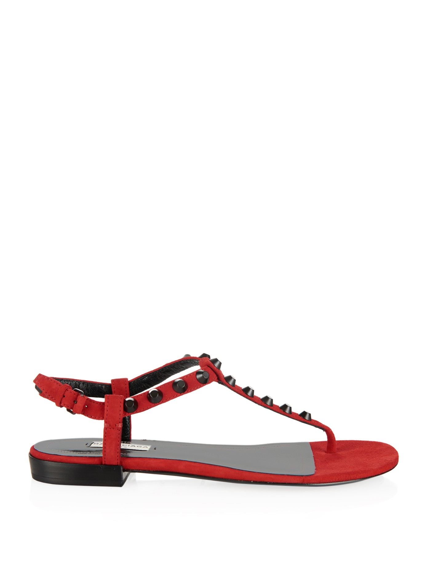 Lyst Balenciaga Arena Studded Suede Flat Sandals In Red