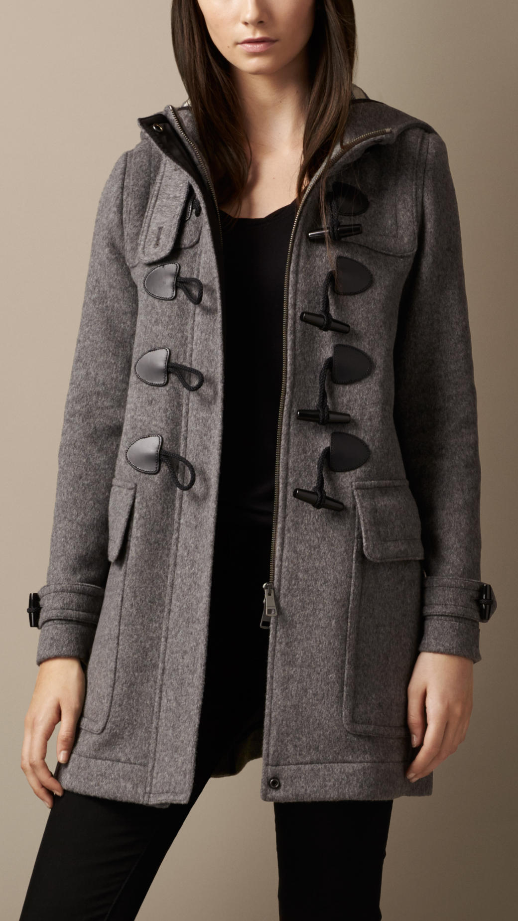 Burberry Straight Fit Duffle Coat in Gray | Lyst