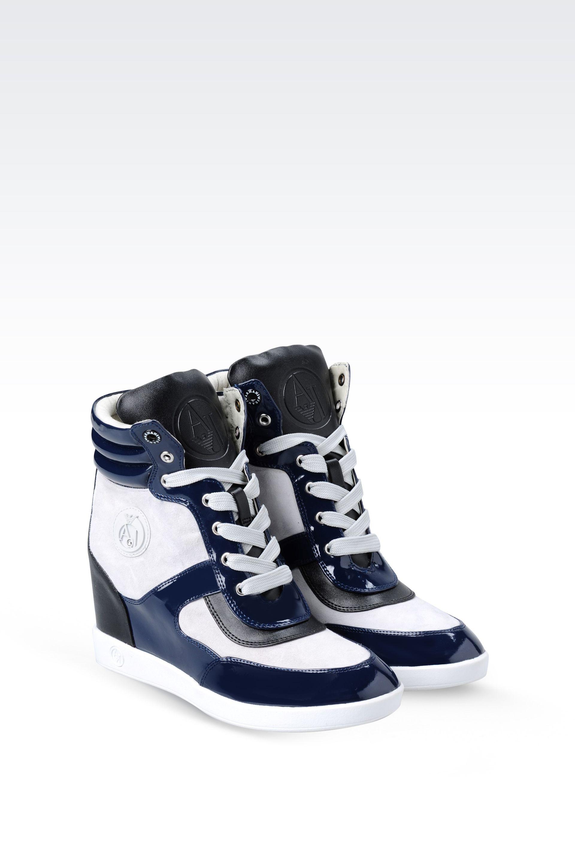 armani jeans hightop sneaker in blue lyst. Black Bedroom Furniture Sets. Home Design Ideas